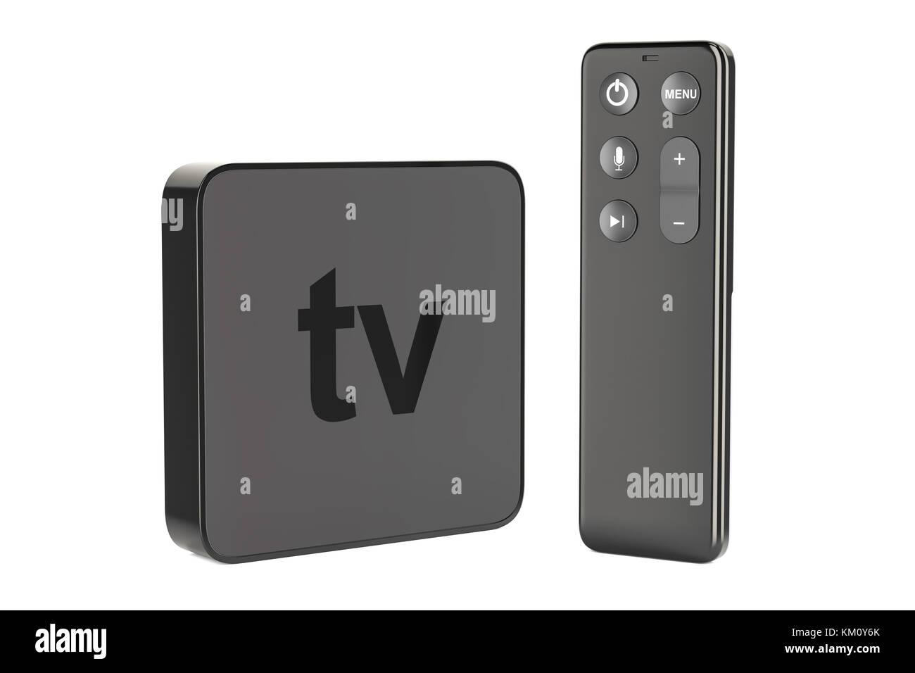 Modern Digital Media Player Tv 3d Rendering Isolated On White Stock