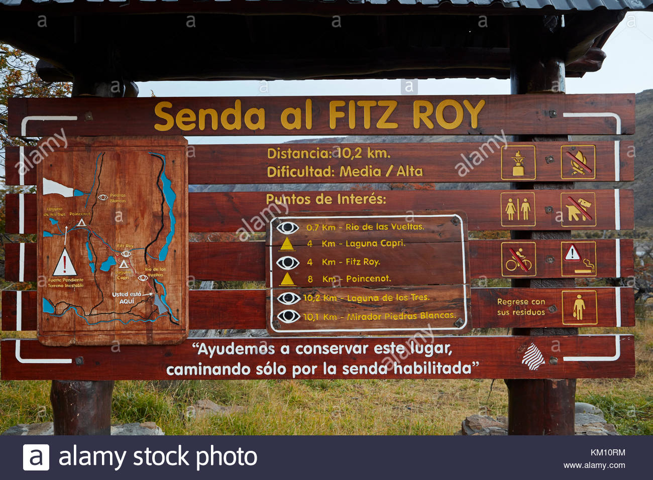 Sign and map at the start of track to laguna de los tres parque sign and map at the start of track to laguna de los tres parque nacional los glaciares world heritage area patagonia argentina south america gumiabroncs Image collections
