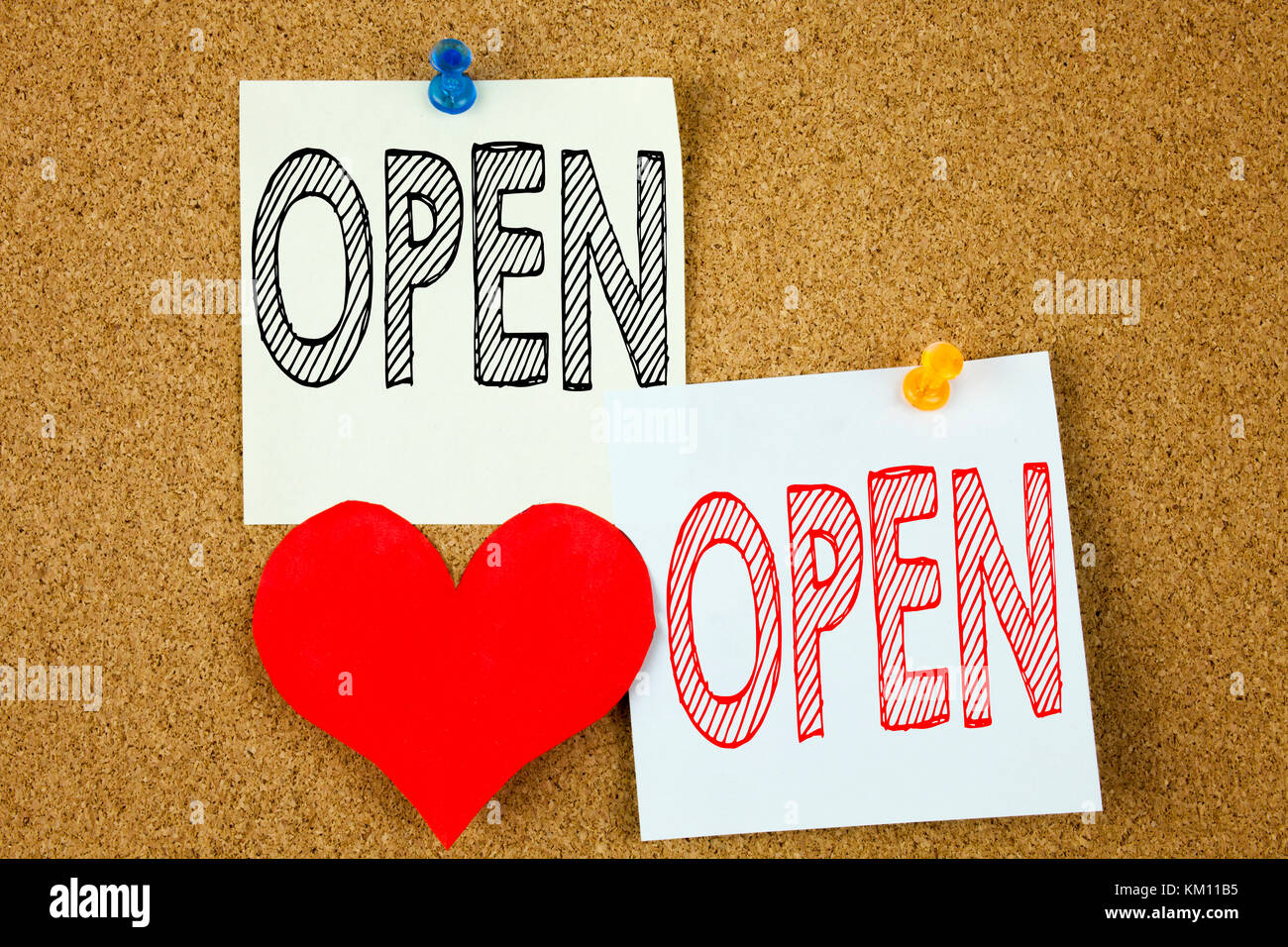 Conceptual hand writing text caption inspiration showing open conceptual hand writing text caption inspiration showing open concept for shop opening and love written on sticky note reminder cork background with m4hsunfo