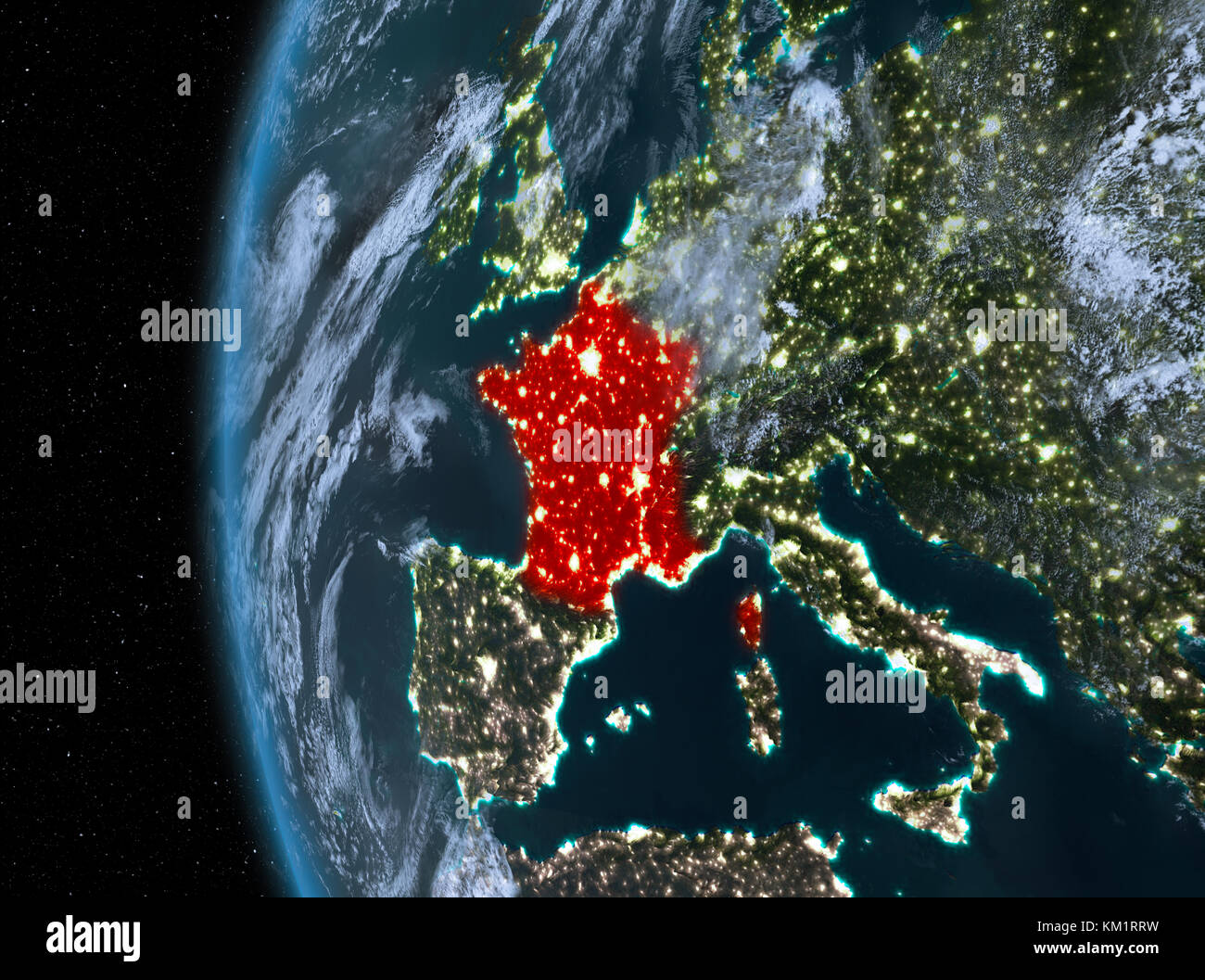 Night map of france as seen from space on planet earth 3d stock night map of france as seen from space on planet earth 3d illustration elements of this image furnished by nasa gumiabroncs Image collections