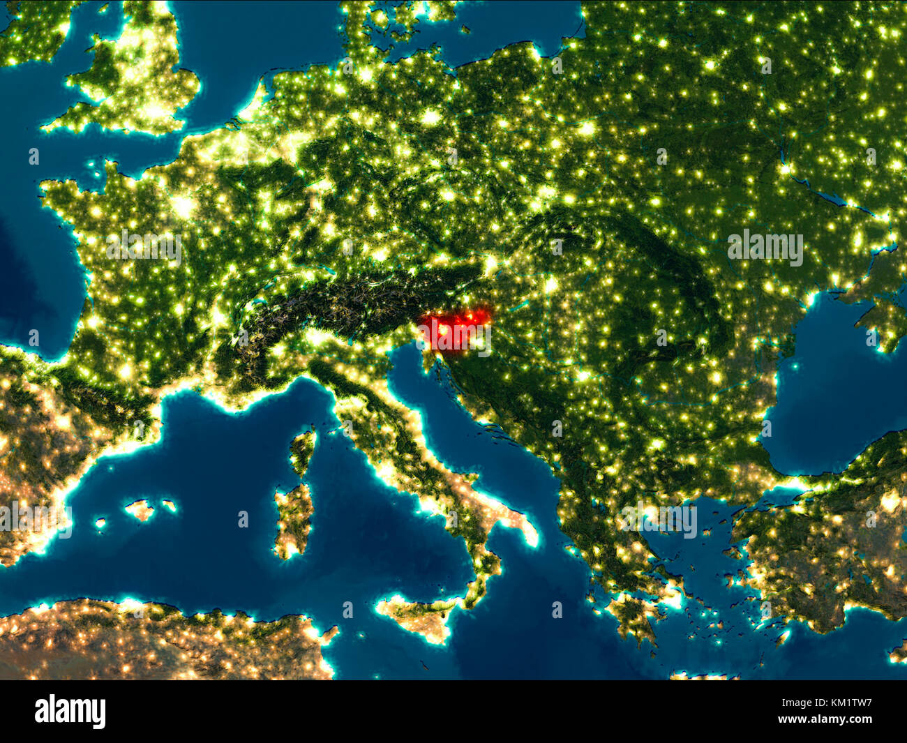 Satellite Night View Of Slovenia Highlighted In Red On Planet - World satellite night view