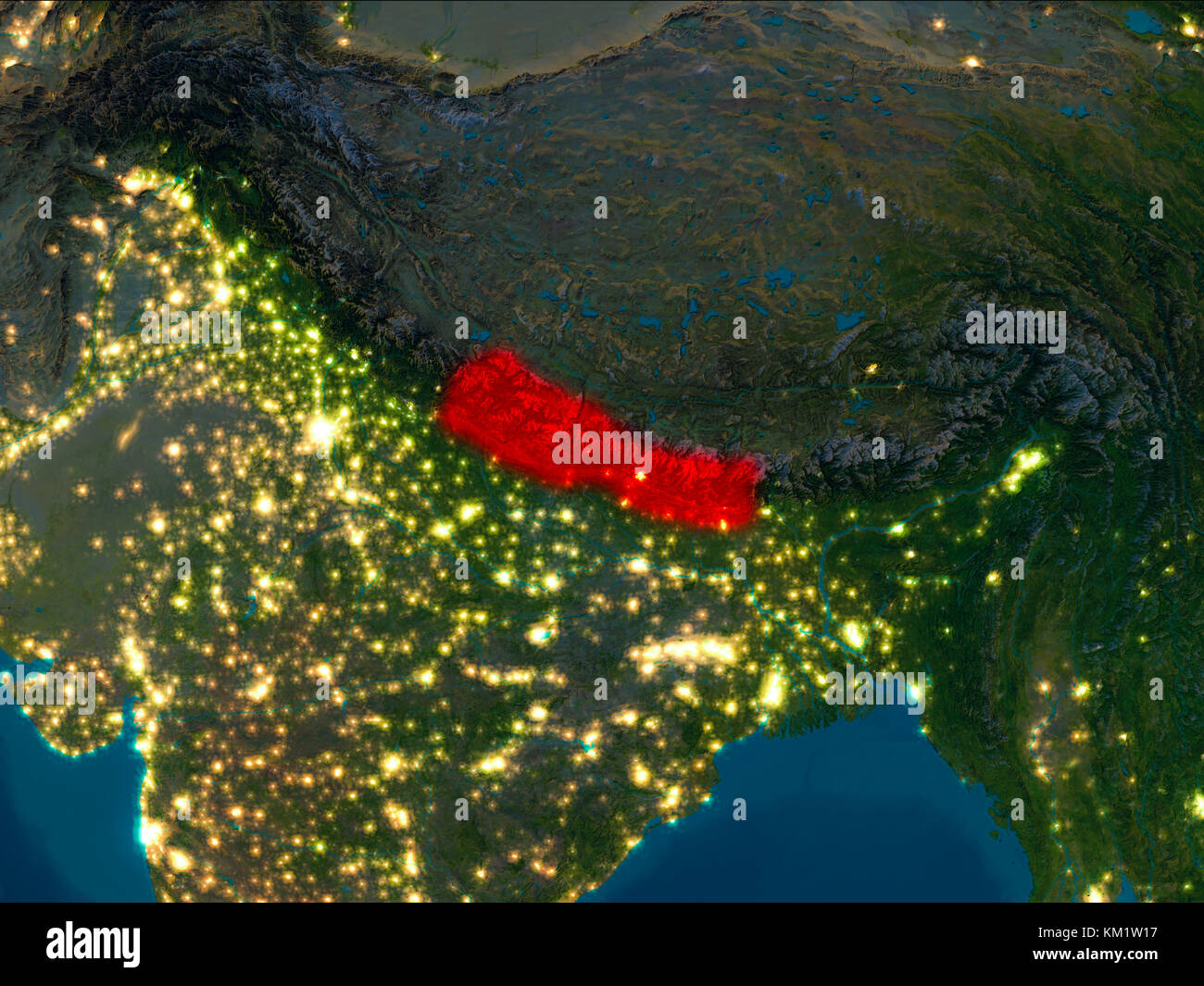 Satellite Night View Of Nepal Highlighted In Red On Planet Earth - World satellite night view