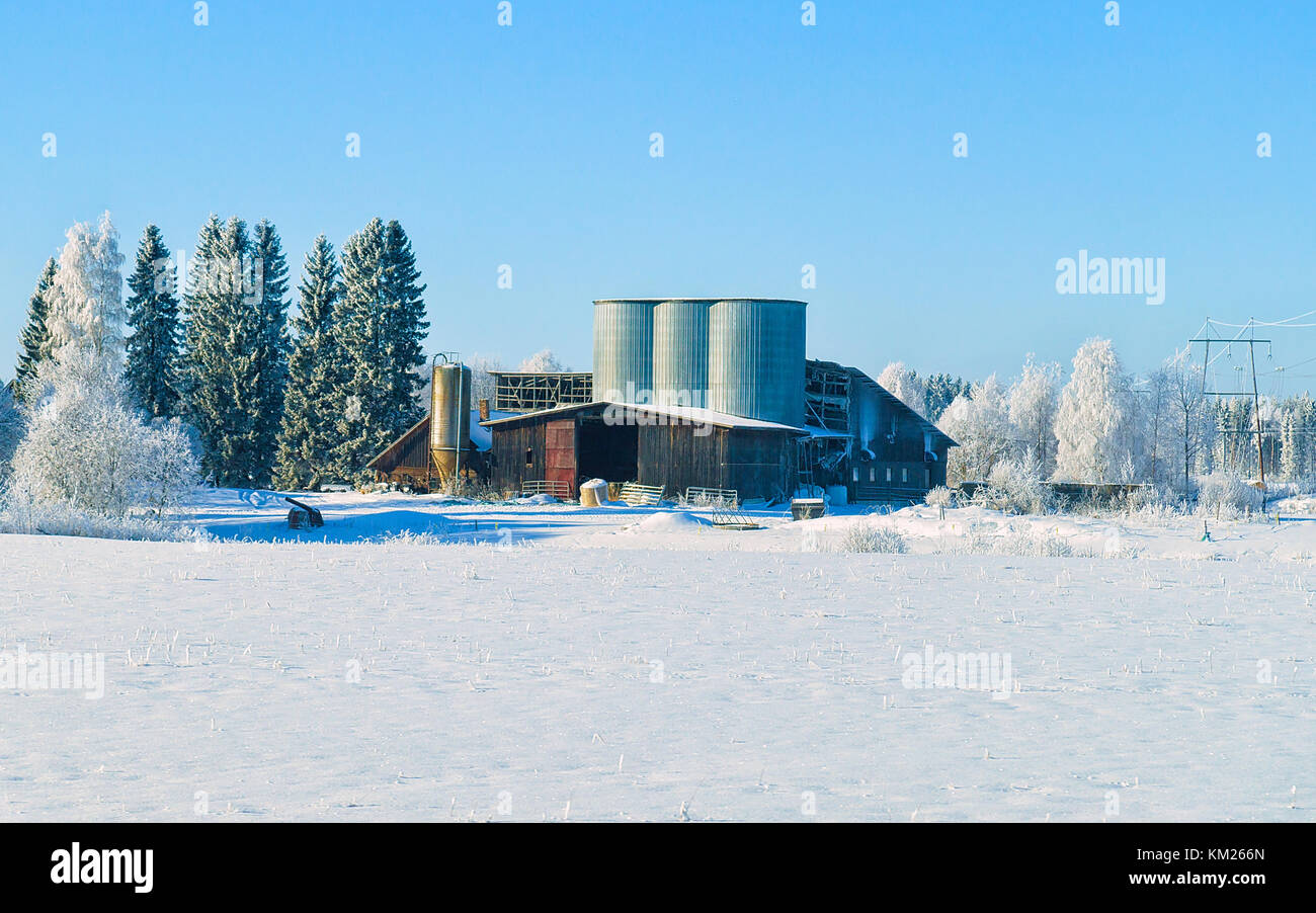 Storage Tanks In Winter Countryside In Lapland, Finland
