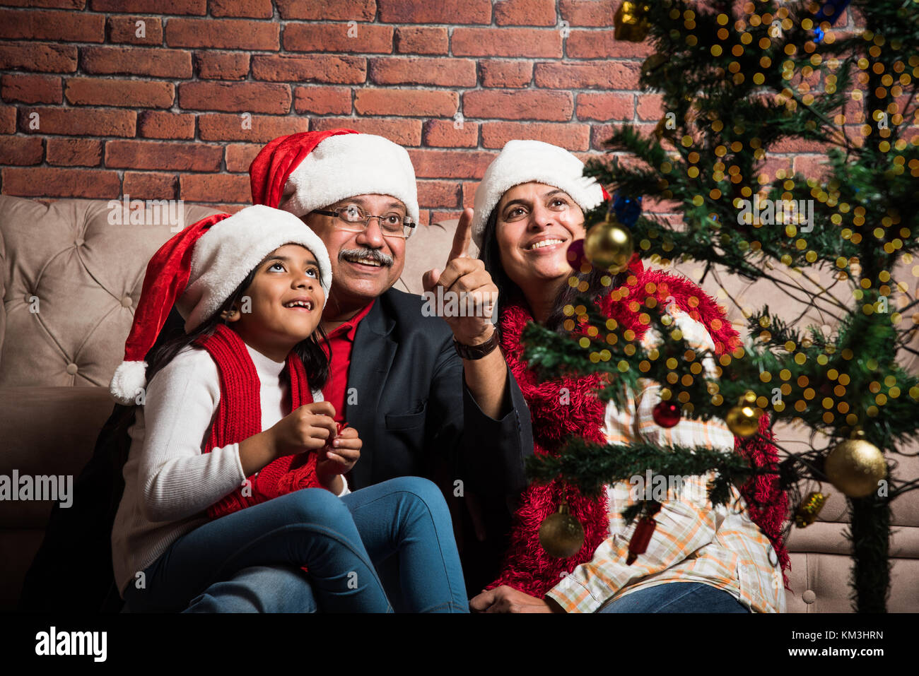 family holidays generation christmas and people concept smiling indian grandparents and granddaughter - People Decorating A Christmas Tree