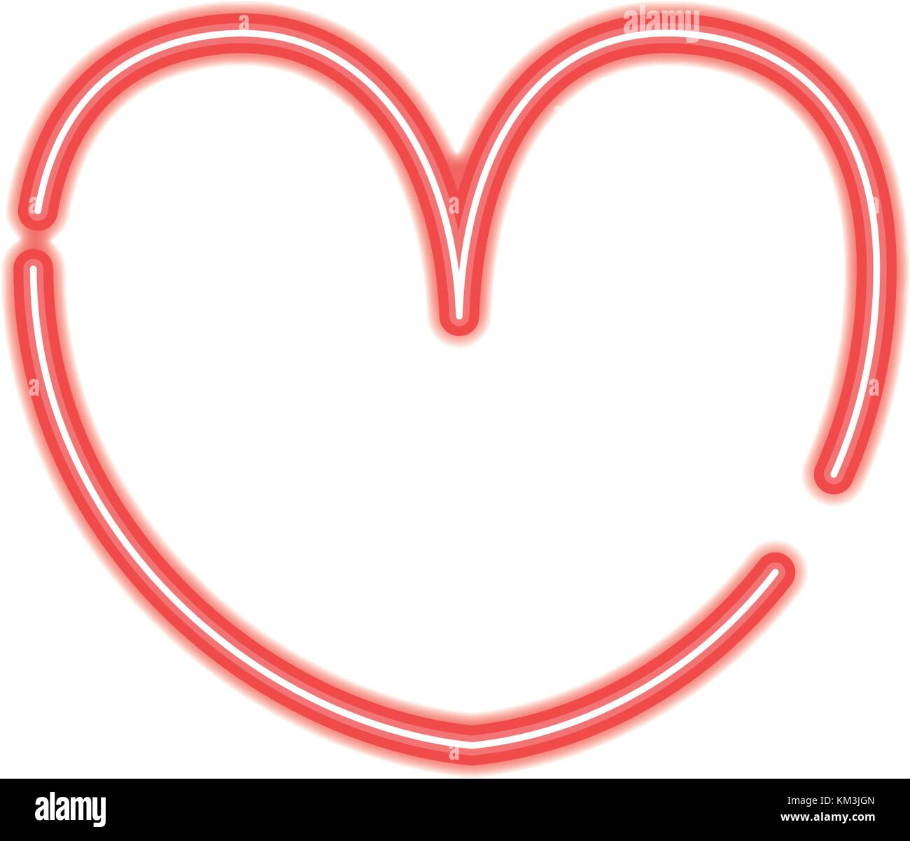 Neon Heart Symbol Of Passion And Love Stock Vector Art