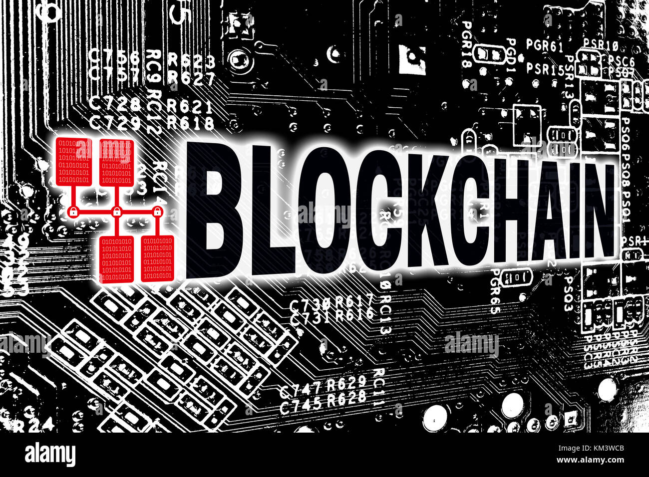 Blockchain With Circuit Board Concept.   Stock Image