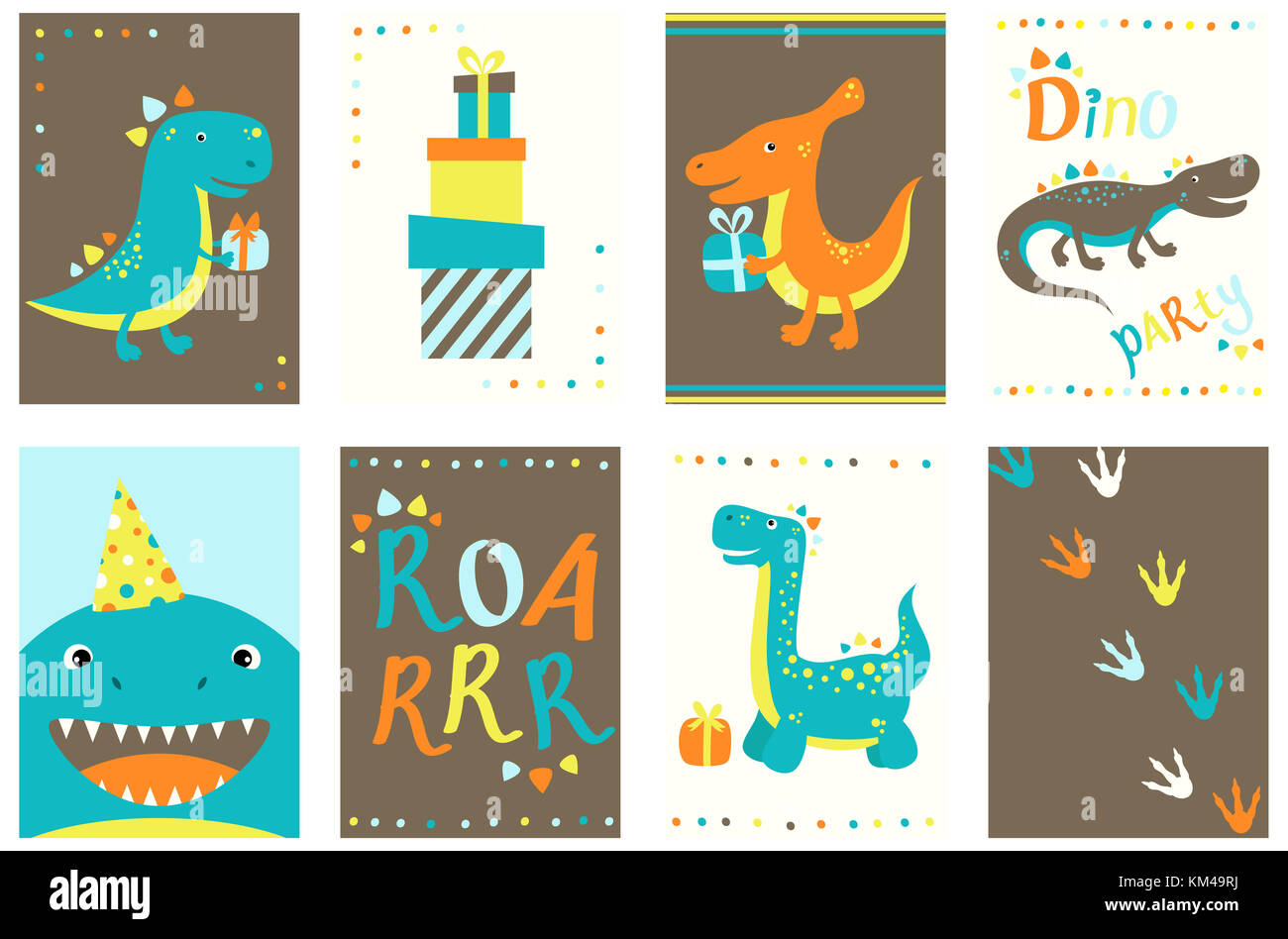 set of birthday banner background flyer placard with cute dinos