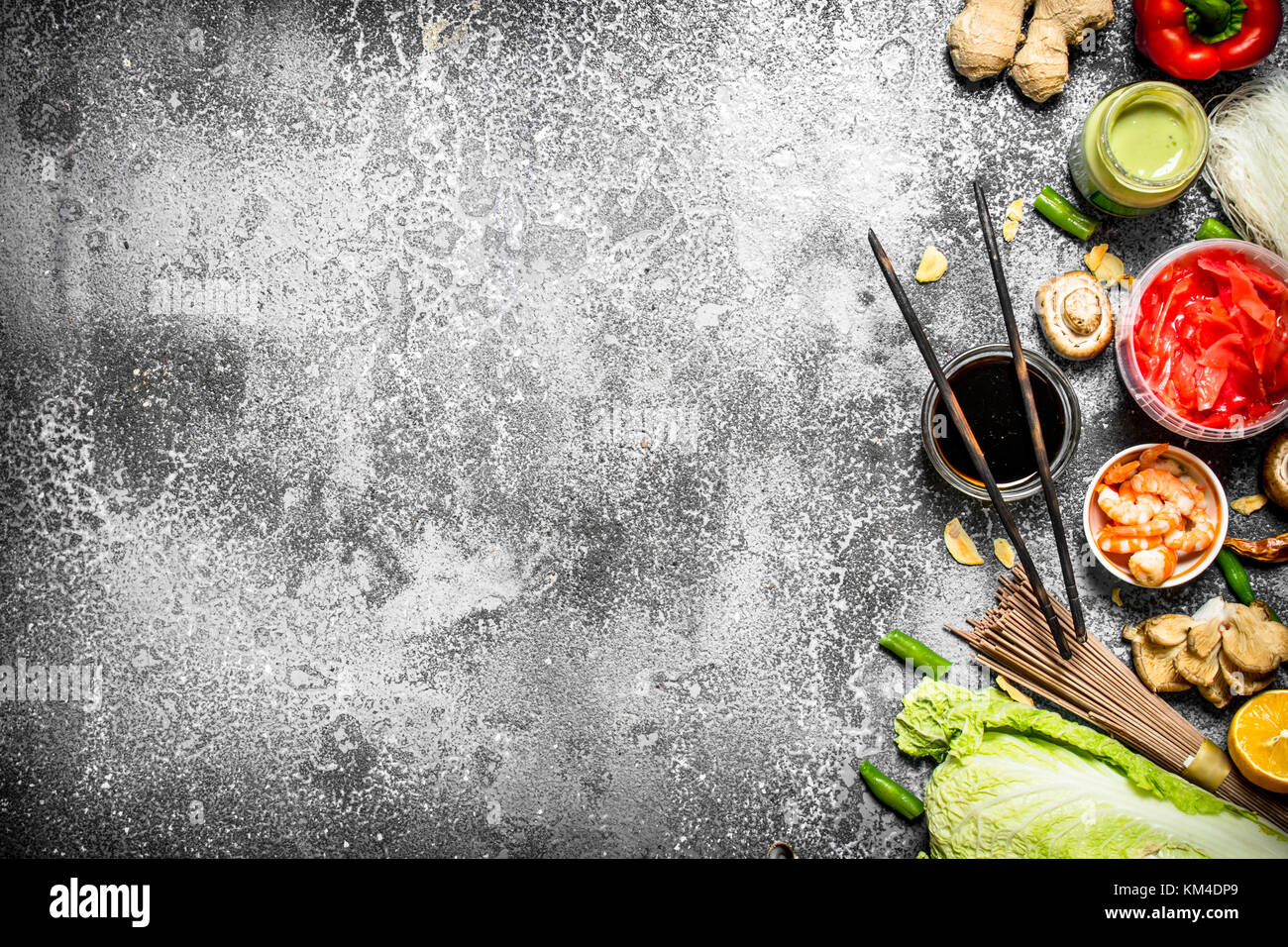 Asian food fresh ingredients for cooking chinese food on a rustic asian food fresh ingredients for cooking chinese food on a rustic background forumfinder Images