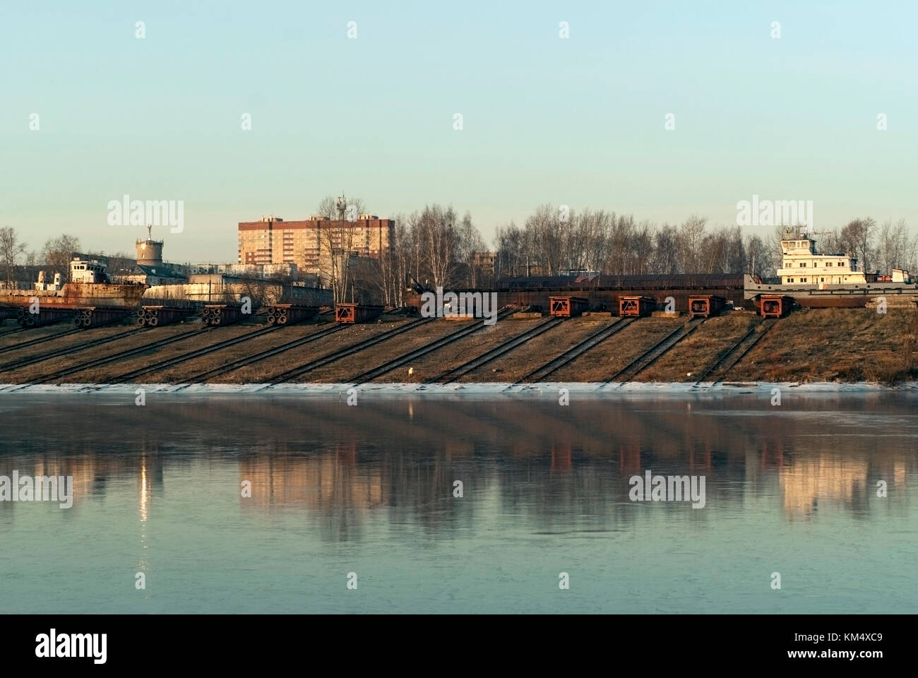 slipways with roller pallets of ship repair yard for river vessels