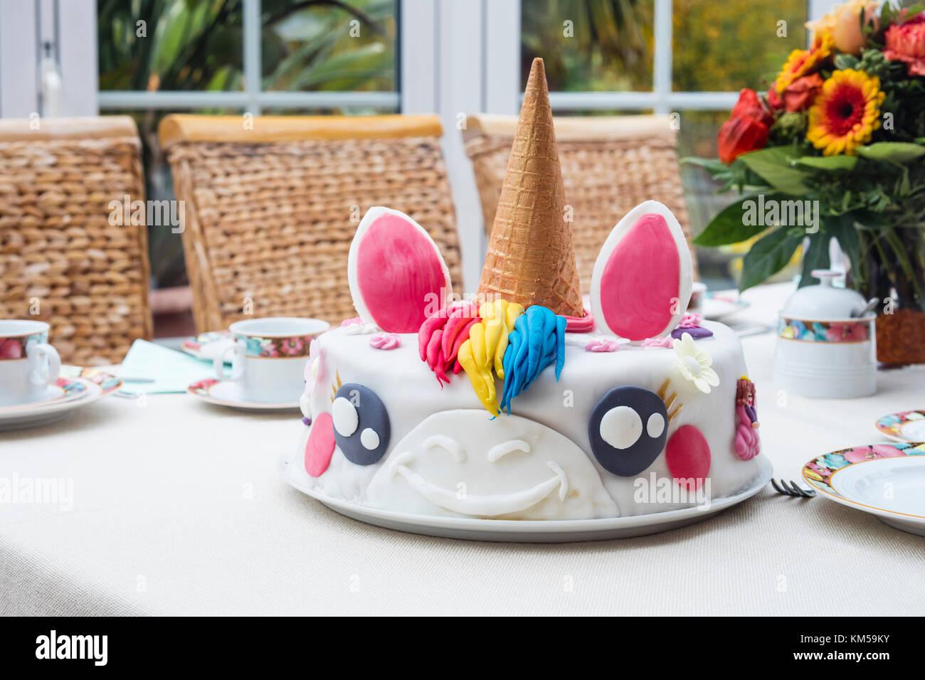 Homemade Birthday Cake Unicorn On A Table