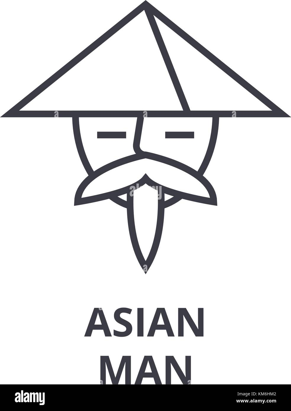 Asian Man Line Icon Outline Sign Japanese Man Linear Symbol Asian