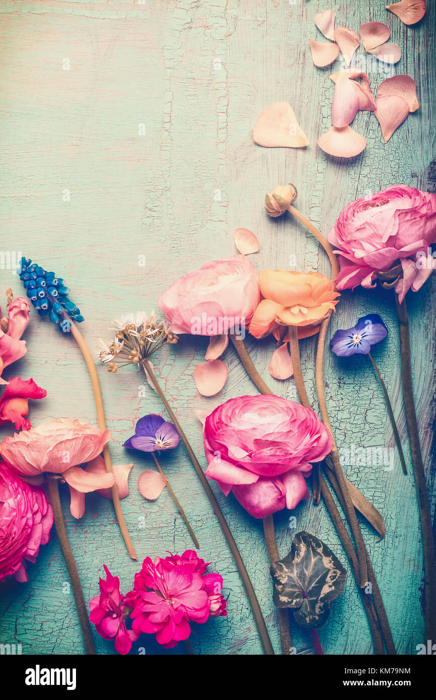 Pretty Flowers Retro Pastel Toned On Vintage Turquoise Background