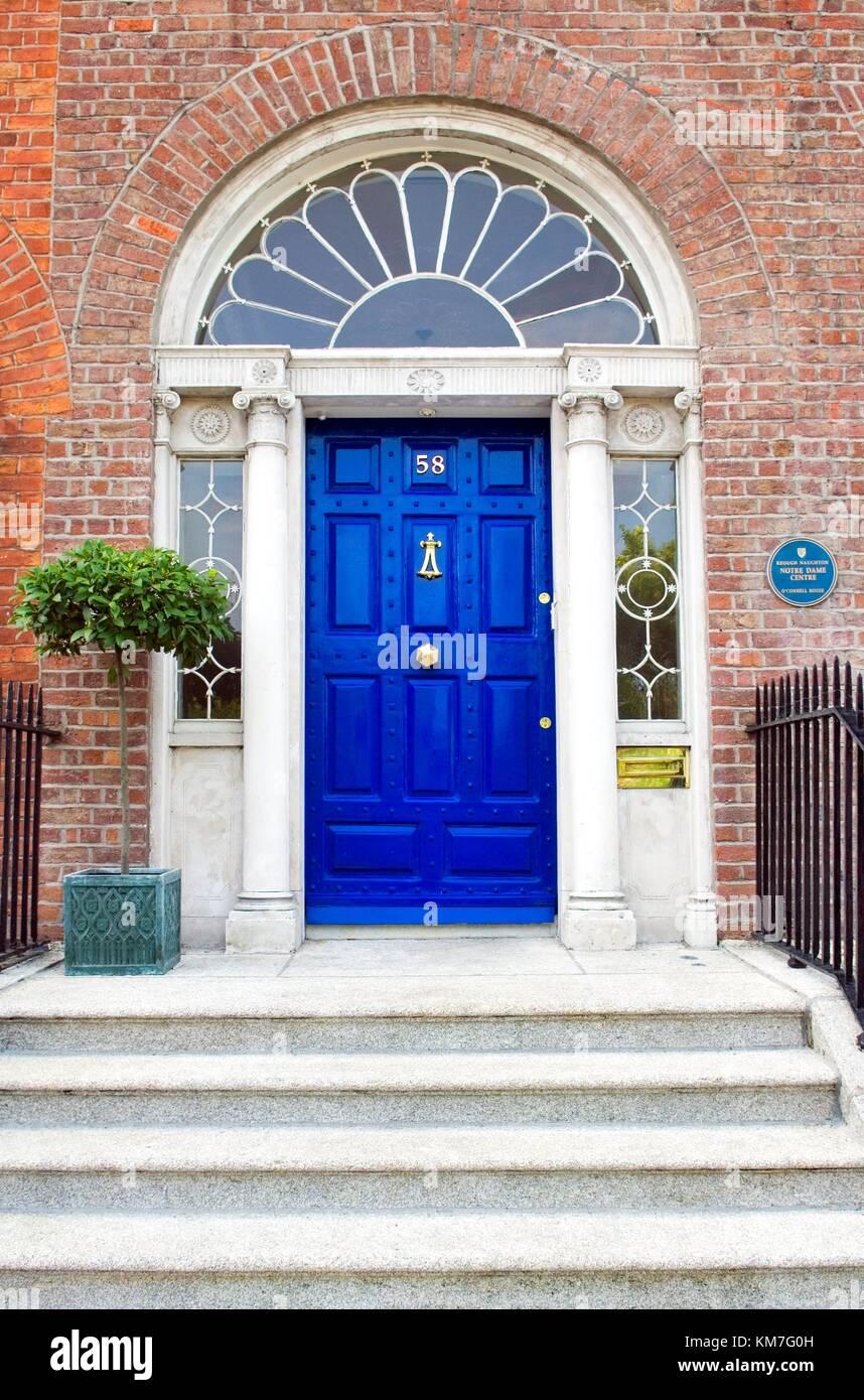 Dublin City Ireland Georgian Period Townhouse Doorway In Merrion