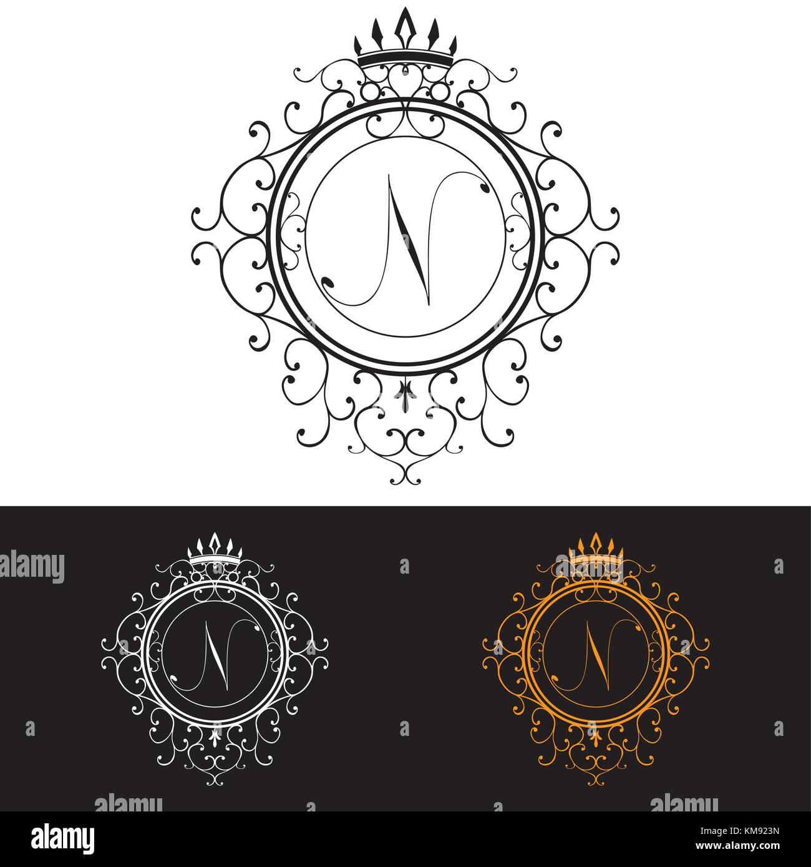 letter n luxury logo template flourishes calligraphic elegant stock