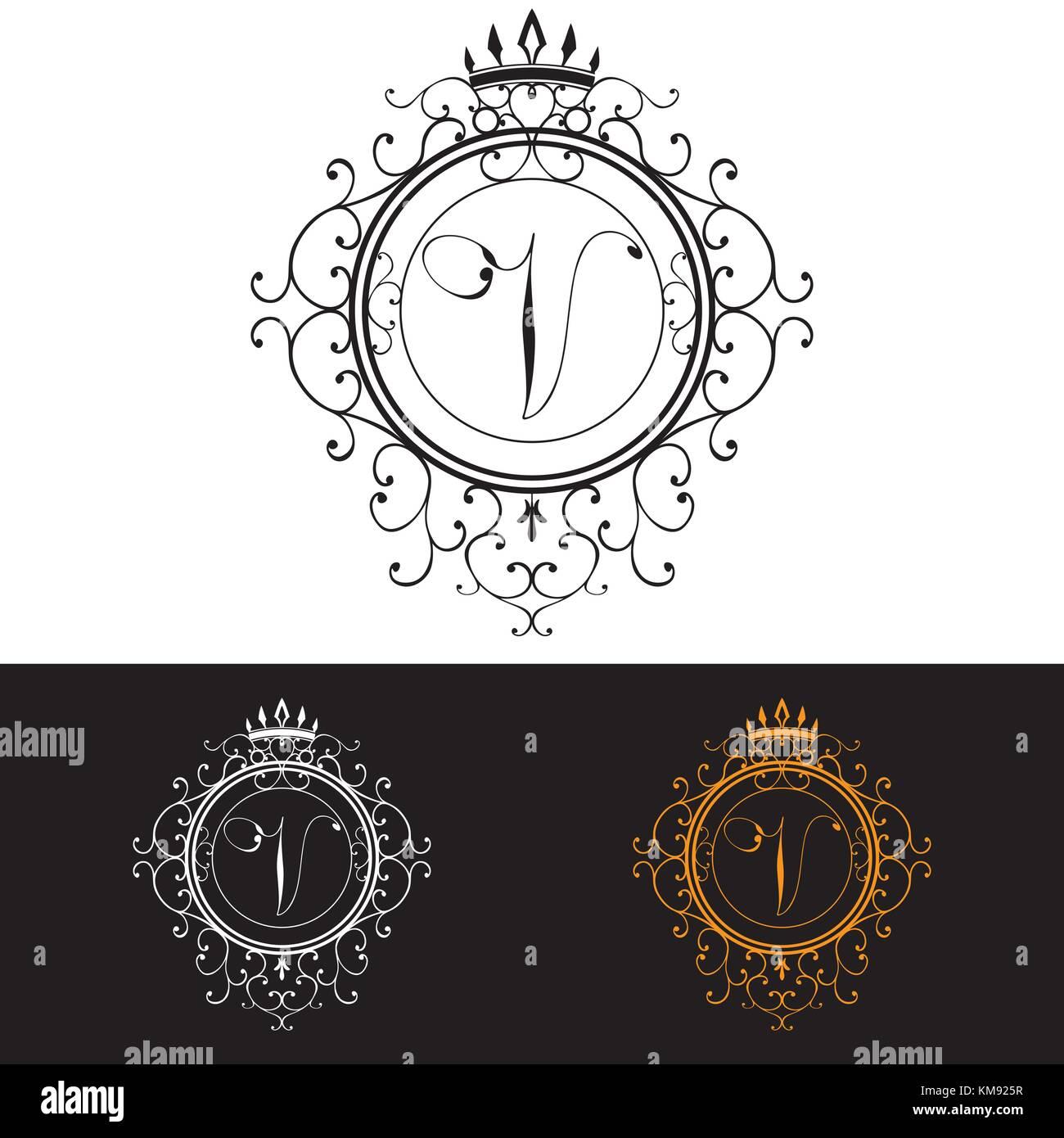 letter v luxury logo template flourishes calligraphic elegant stock