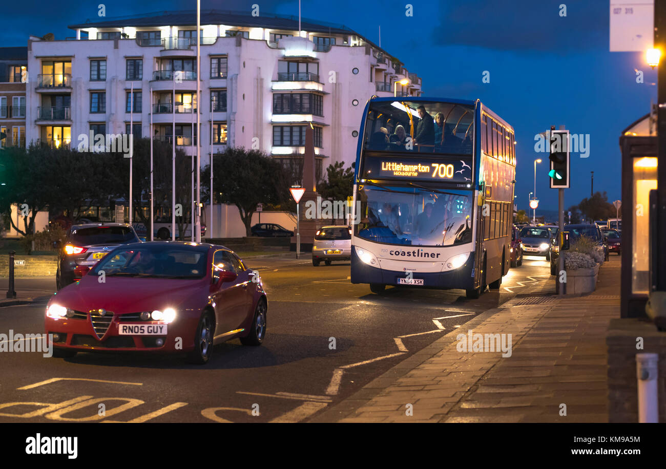 Stagecoach Number 700 Coastliner Bus At Night In Worthing West Sussex England UK