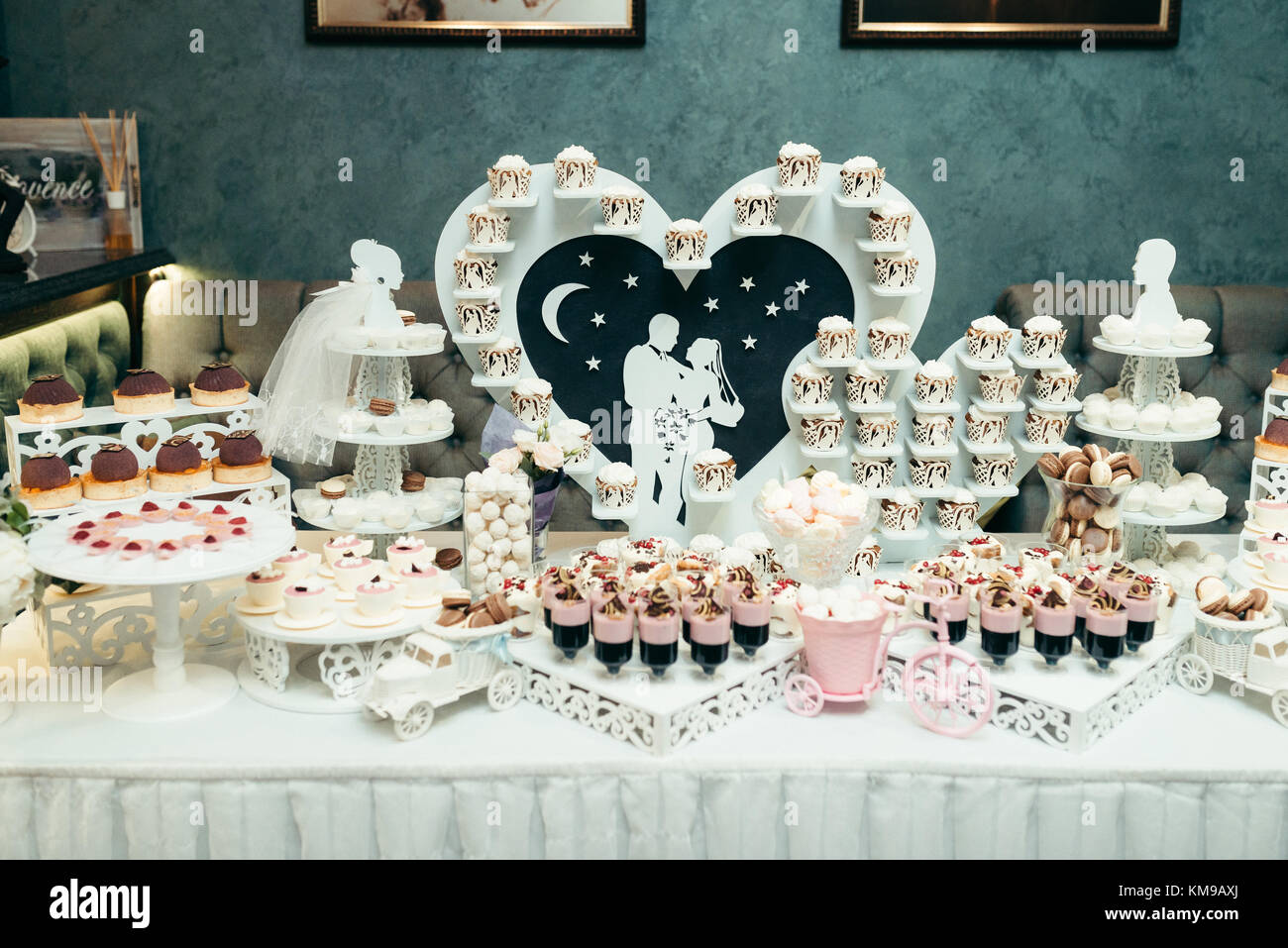 Candy Bar In Pink And White Colours For Wedding Party The Huge