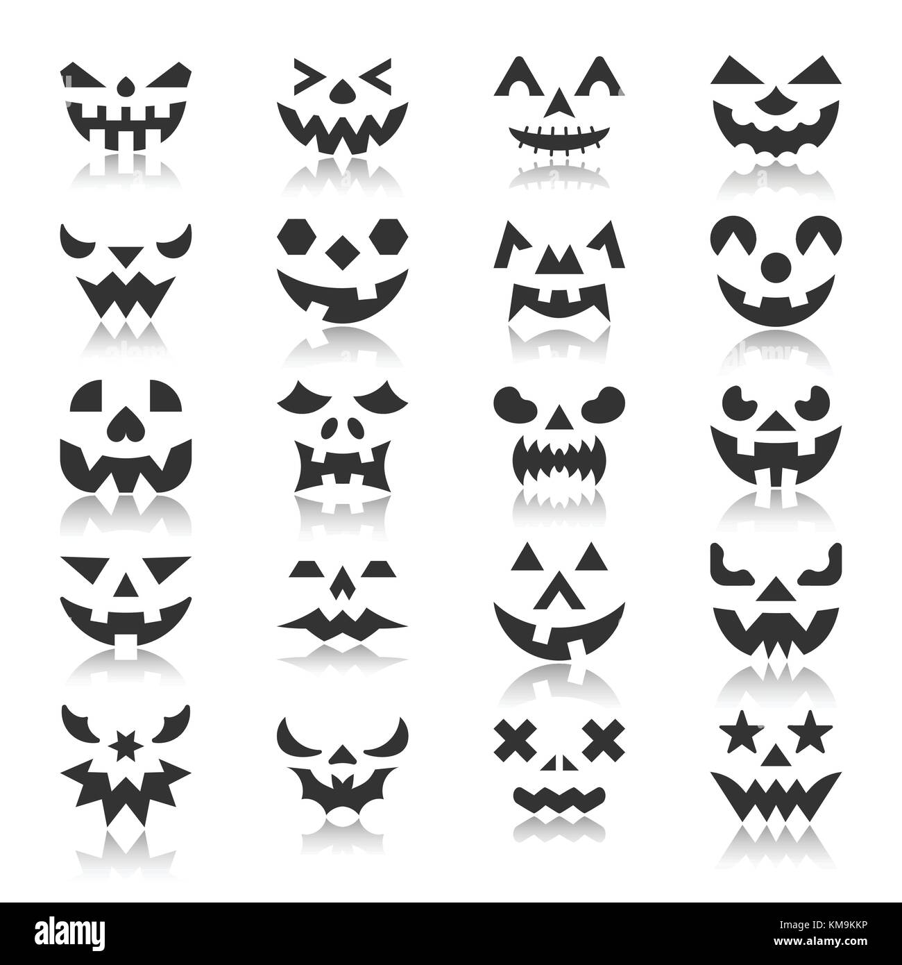 Halloween Face Icon Set Pumpkin Black Silhouette With Reflection
