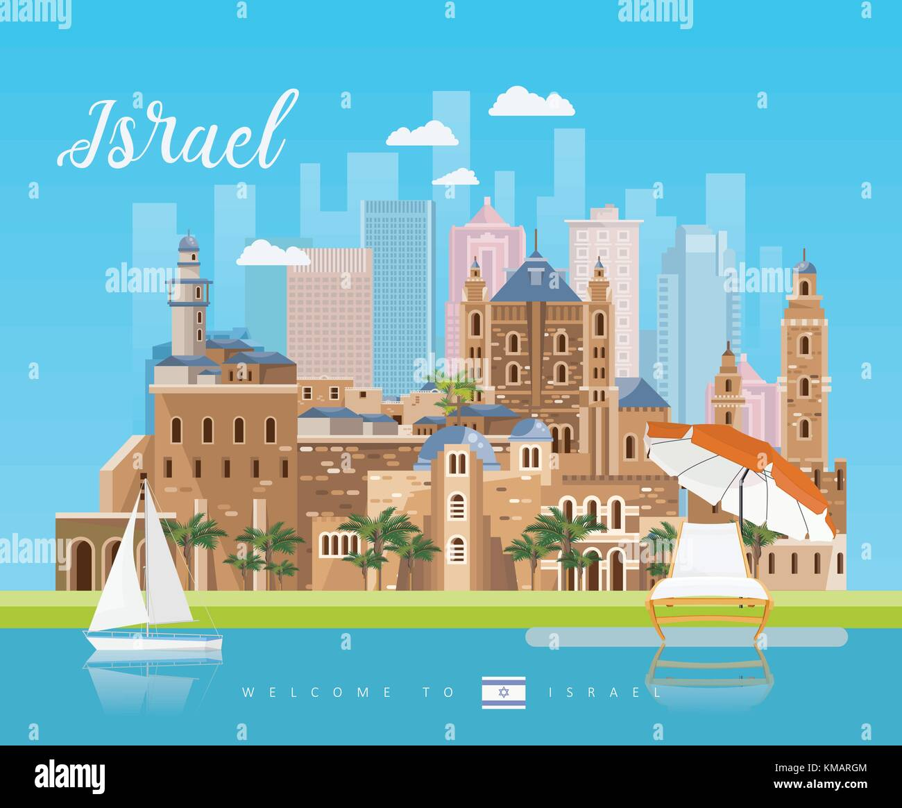 Israel Vector Banner With Jewish Landmarks Travel Poster In Flat