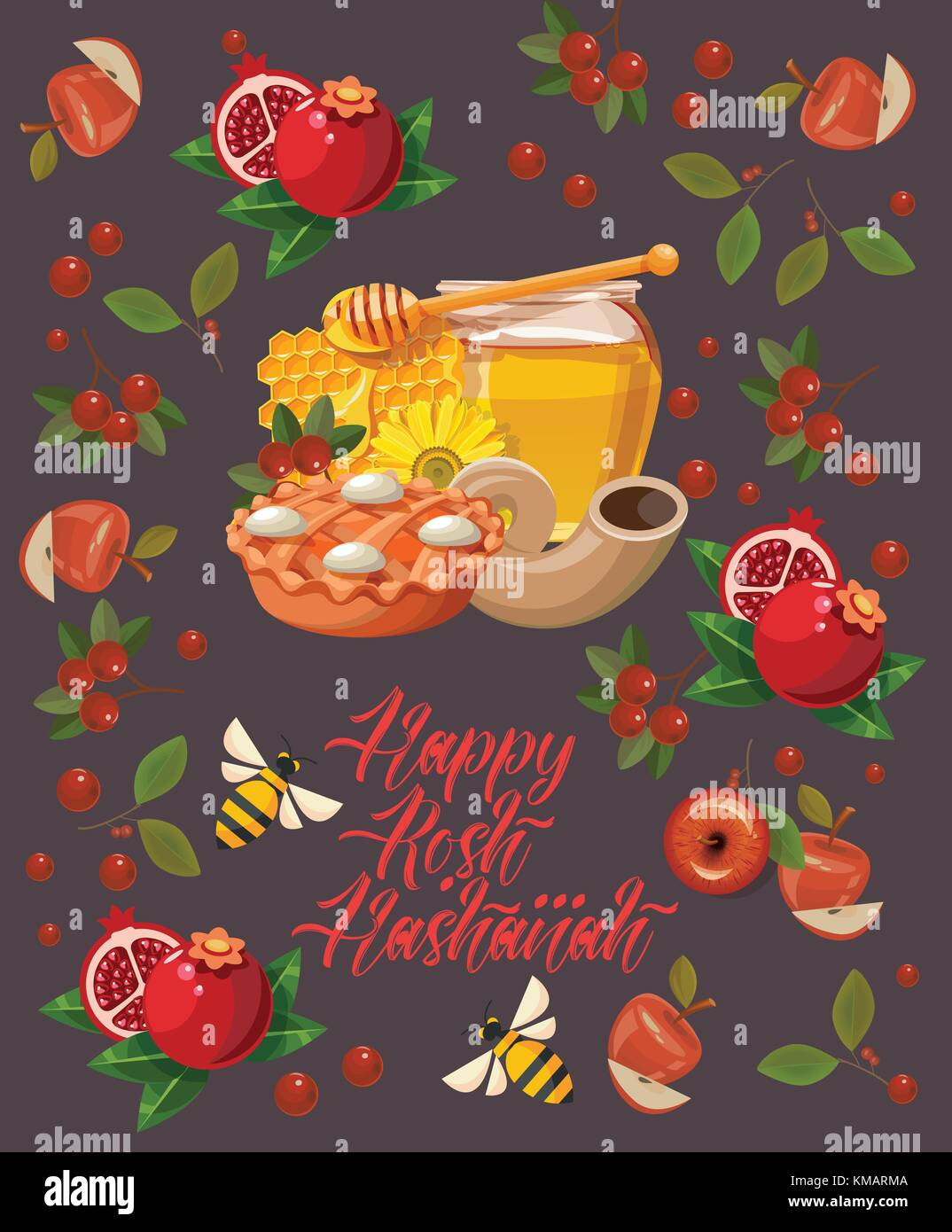 Happy rosh hashanah vector greeting card new year poster in modern happy rosh hashanah vector greeting card new year poster in modern style shana tova m4hsunfo