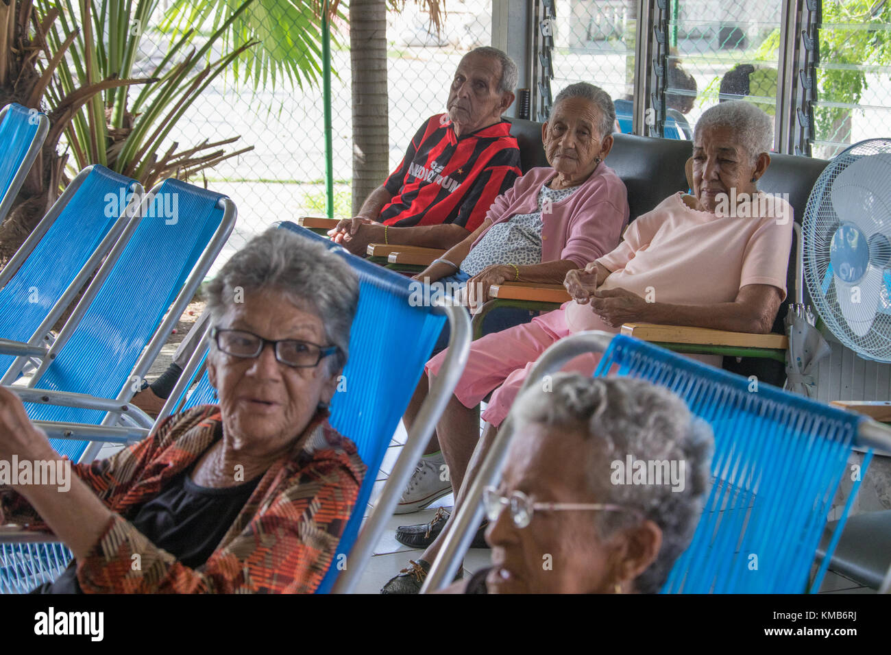 Cuban Women Relaxing At An Elderly Care Facility Or Nursing Home In