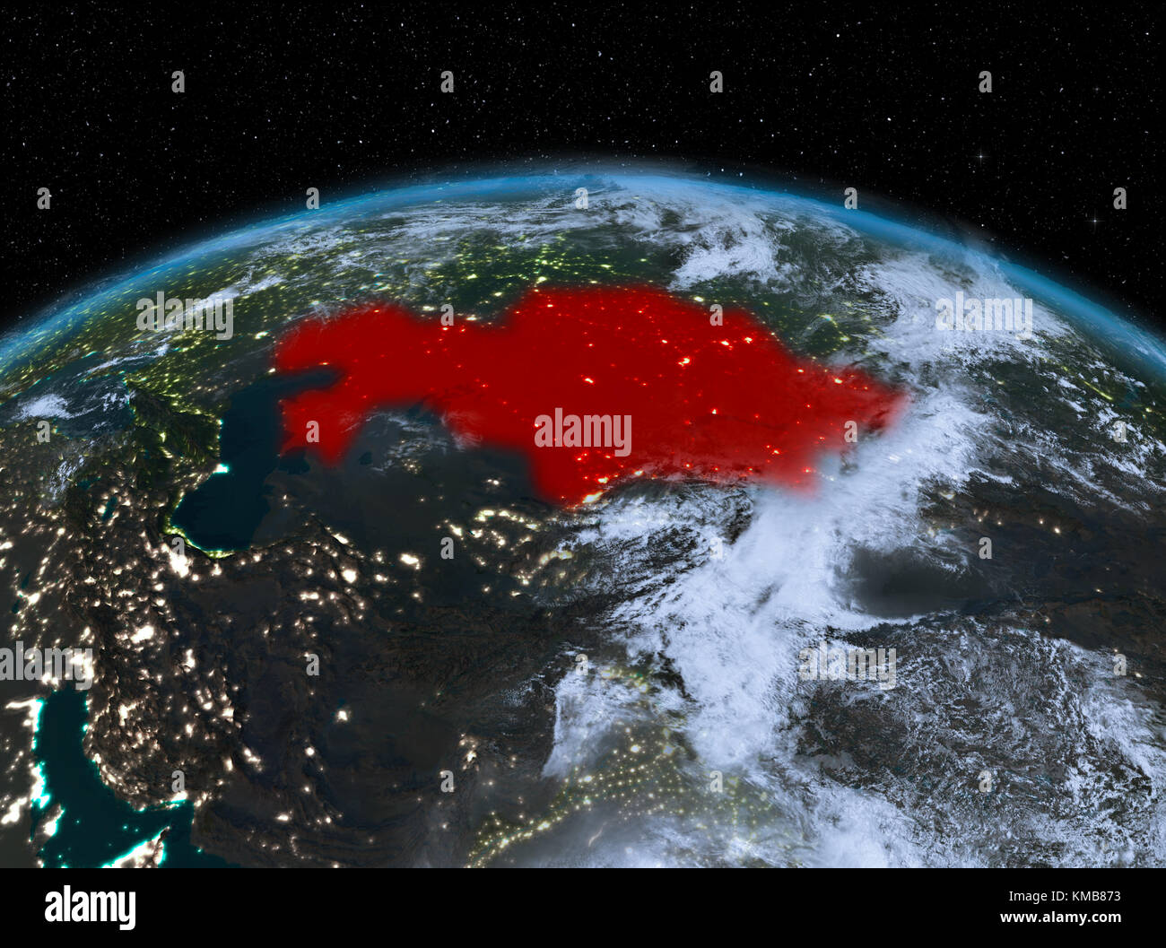 Satellite Night View Of Kazakhstan Highlighted In Red On Planet - World satellite night view