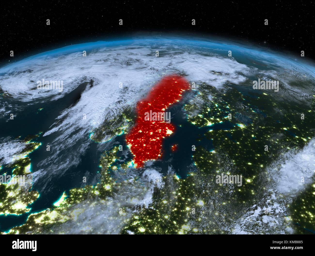 Satellite Night View Of Sweden Highlighted In Red On Planet Earth - World satellite night view