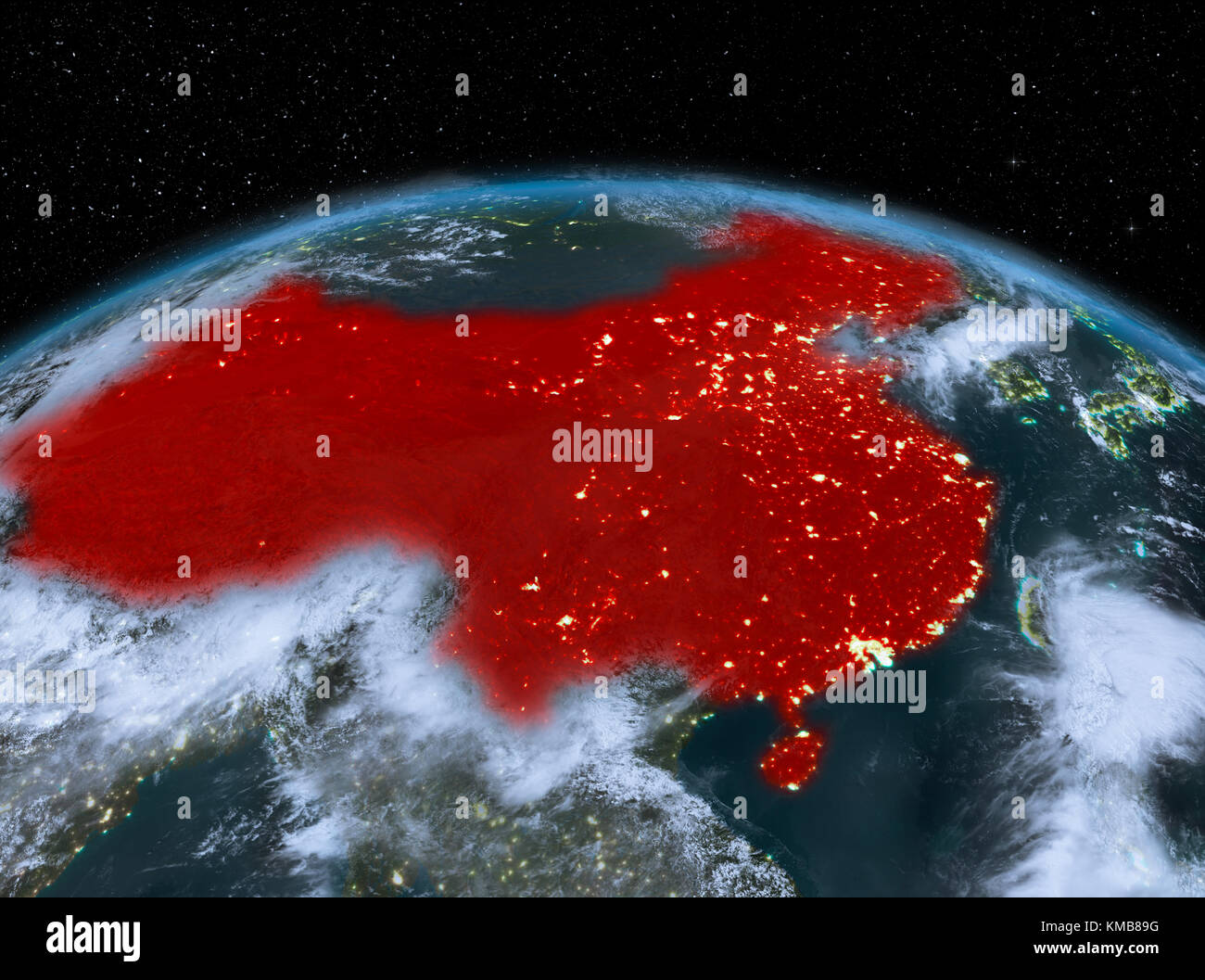 Satellite Night View Of China Highlighted In Red On Planet Earth - World satellite night view