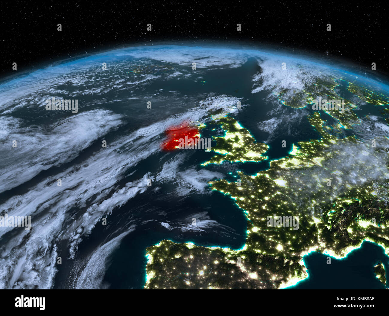 Satellite Night View Of Ireland Highlighted In Red On Planet Earth - World satellite night view