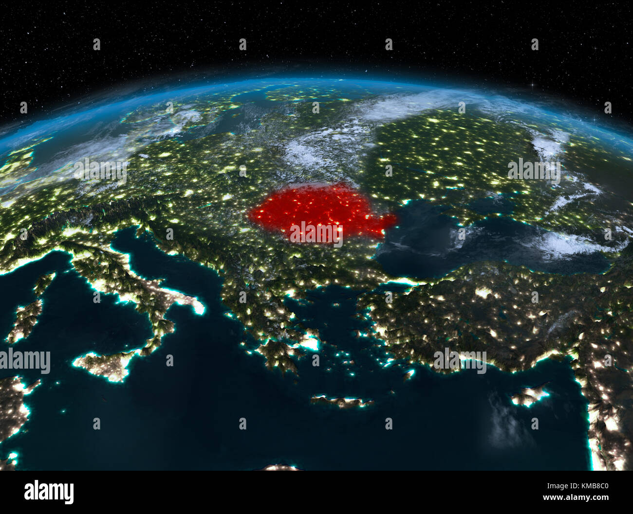 Satellite Night View Of Romania Highlighted In Red On Planet Earth - World satellite night view