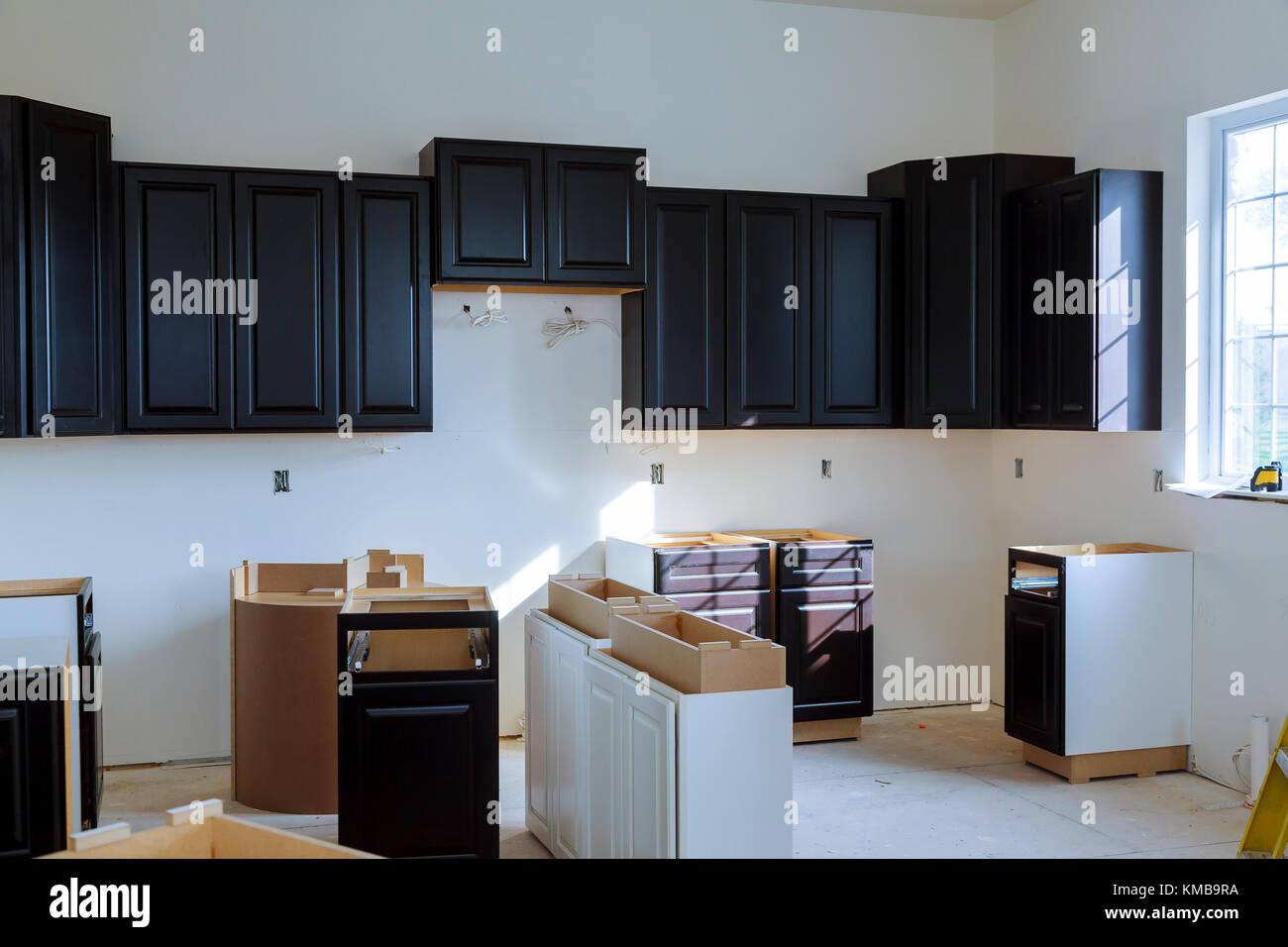 Kitchen cabinets installation Blind corner cabinet island drawers and counter cabinets installed & Kitchen cabinets installation Blind corner cabinet island drawers ...