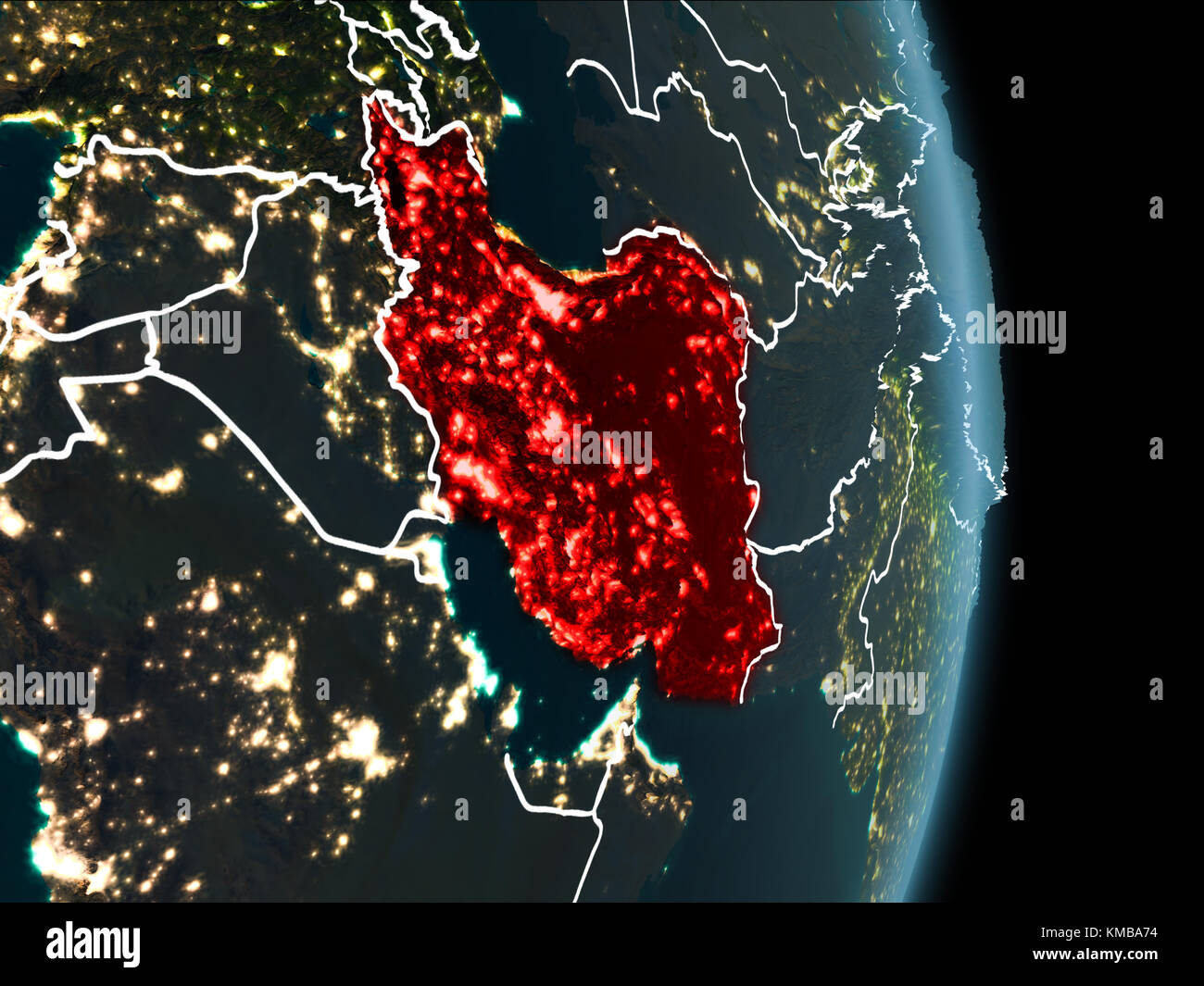 Map Of Iran In Red As Seen From Space On Planet Earth At Night - Map of the world from space at night