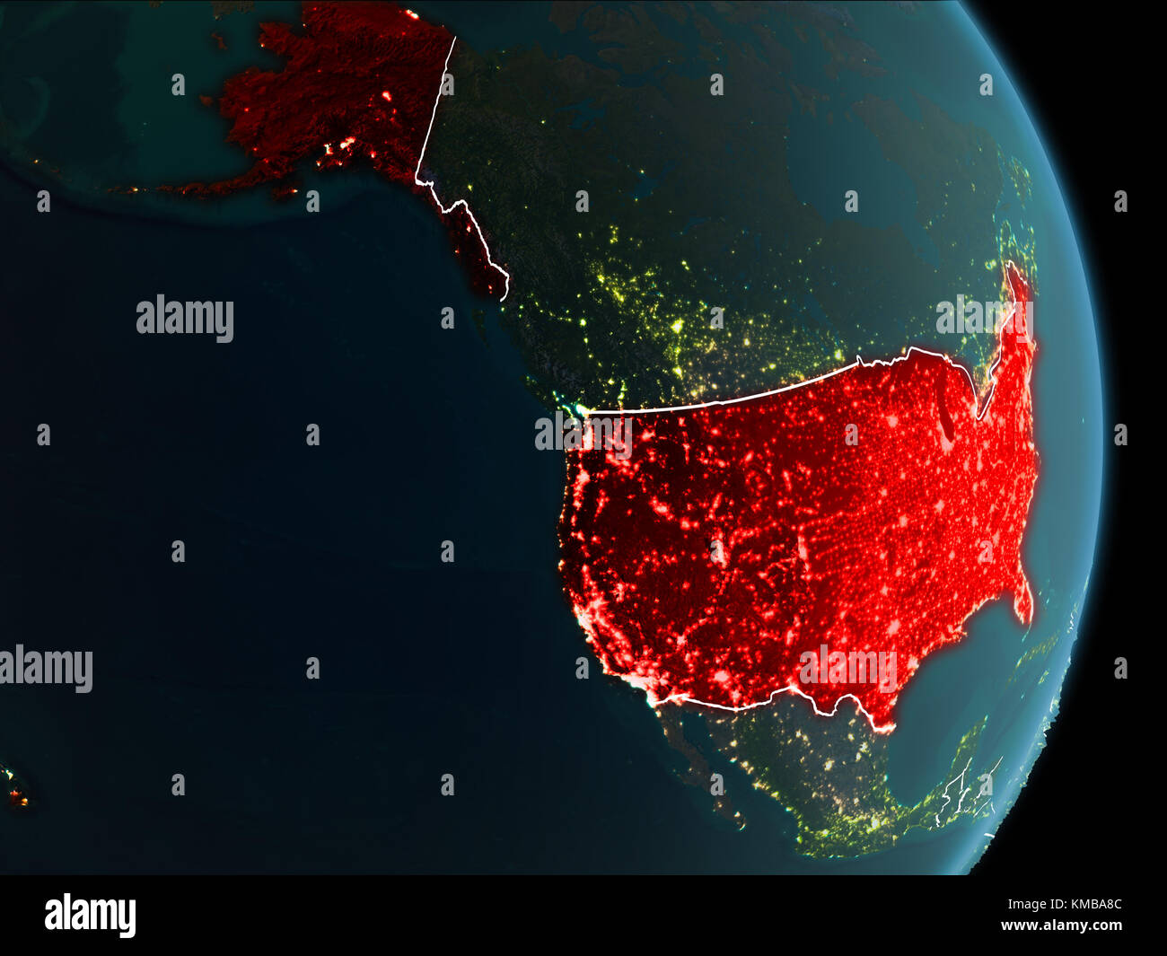 Map Of USA In Red As Seen From Space On Planet Earth At Night With - Map of the world from space at night