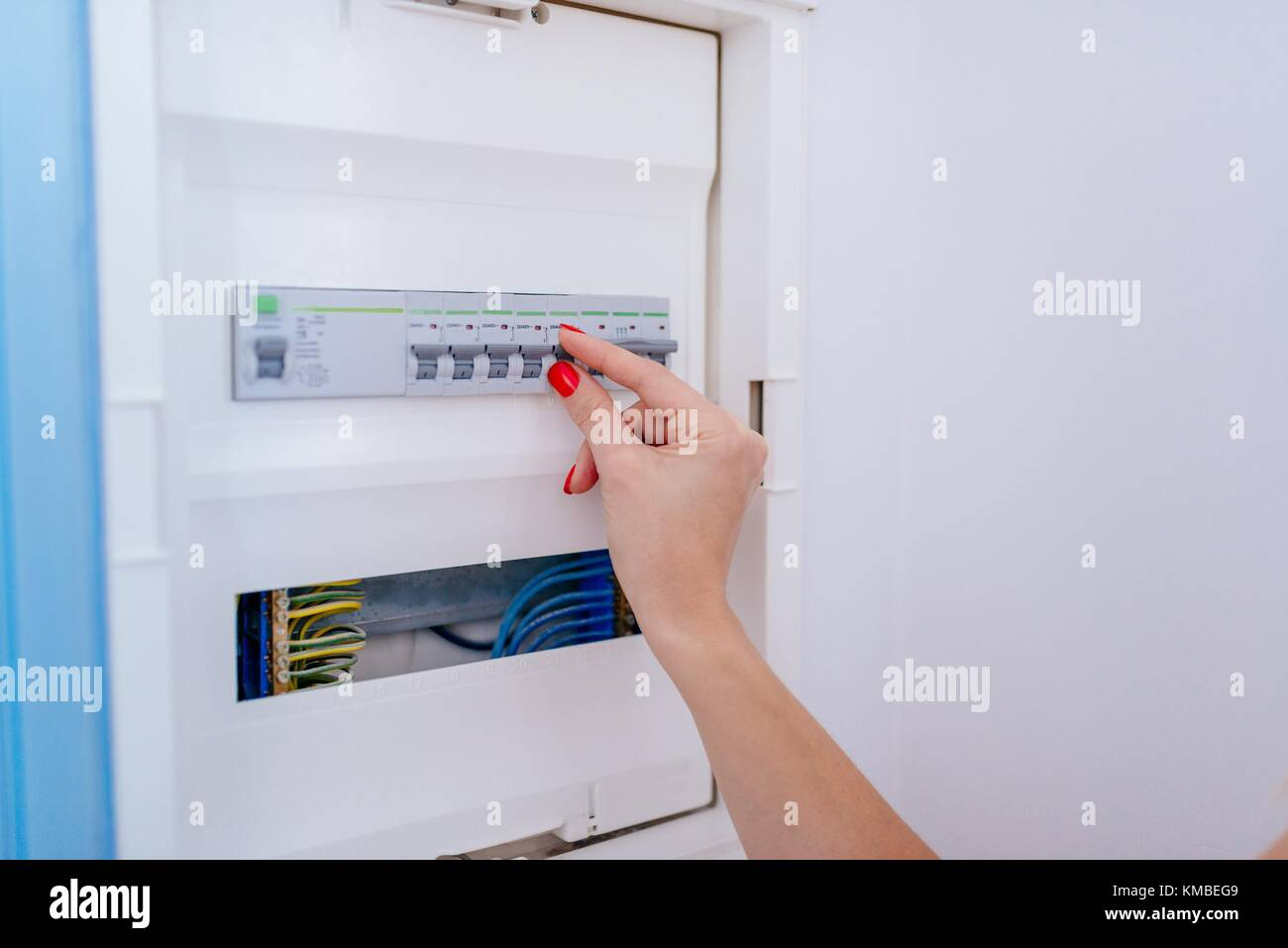 Home Automation Fuse Box Schematic Diagrams Ons Woman Switching Off Electric In Electrical On Wall Stock 1998 Camaro