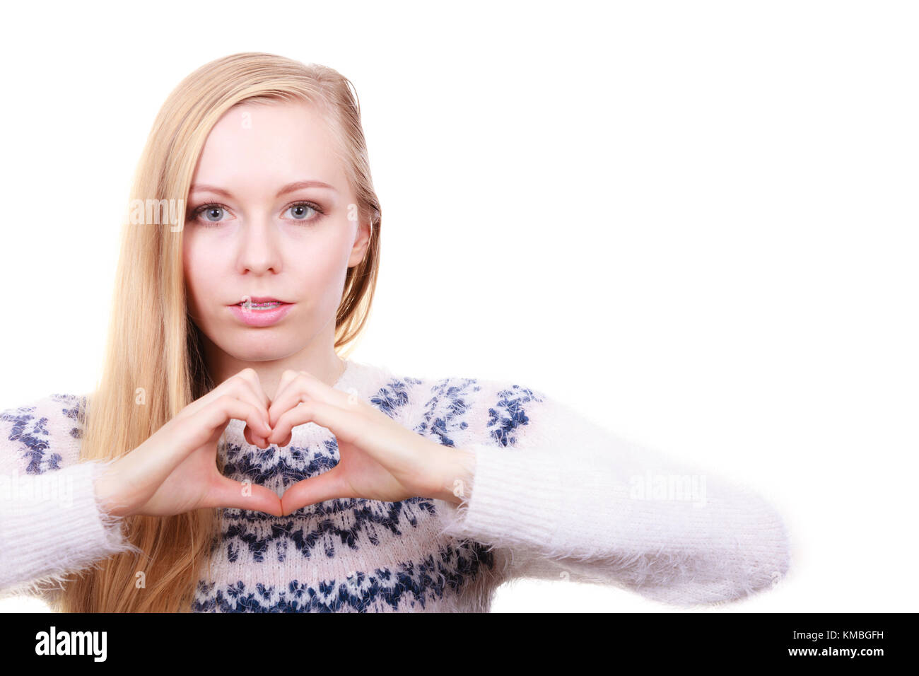 Gestures Signs And Symbols Concept Teenage Girl Making Heart Sign