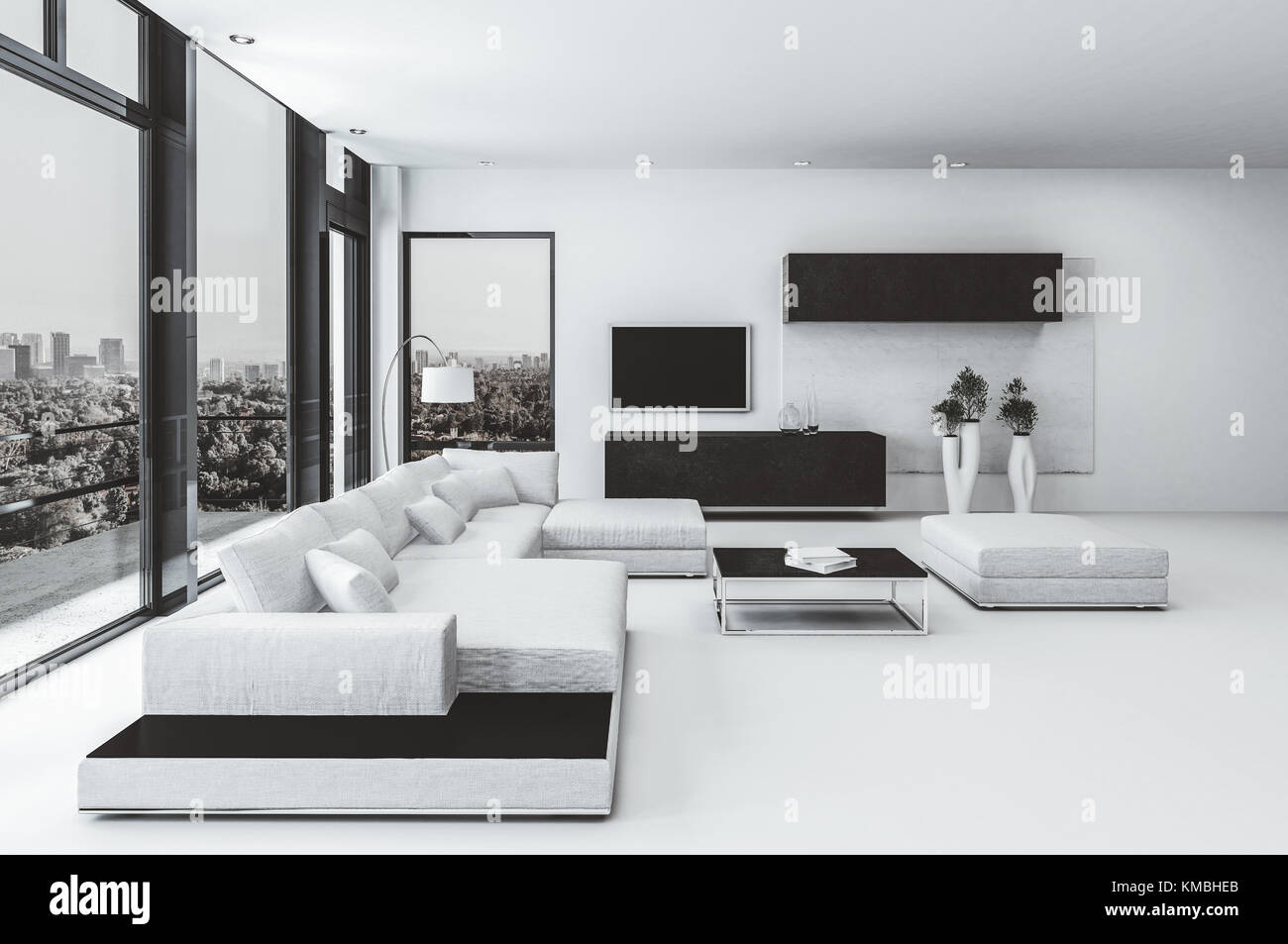Contemporary luxury living room interior with black and white decor a modular lounge suite and large windows overlooking a city with a door to an out
