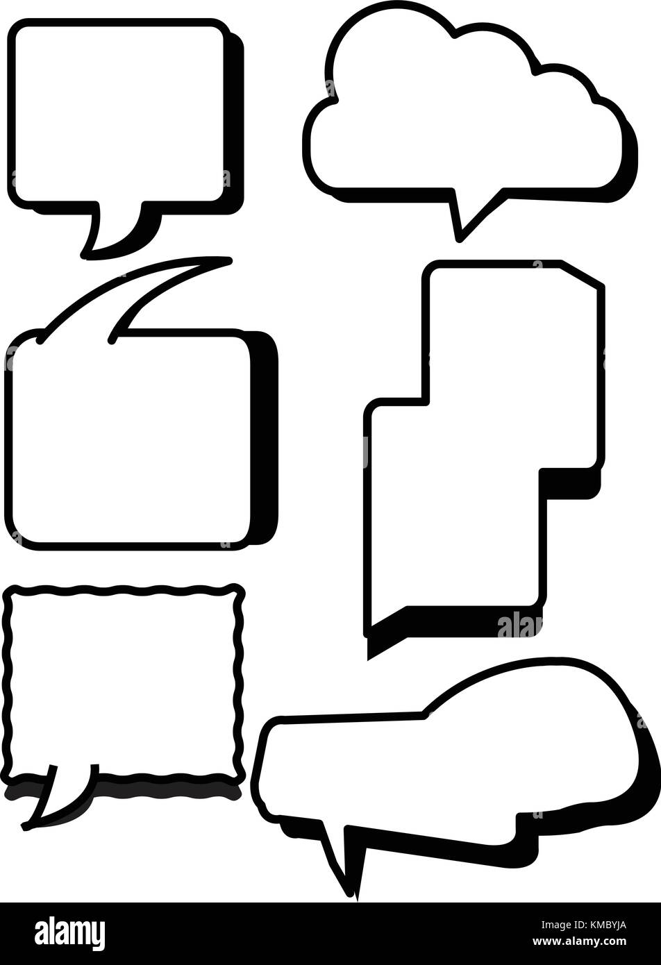 comic bubbles text boxes set with blank speech box vector stock
