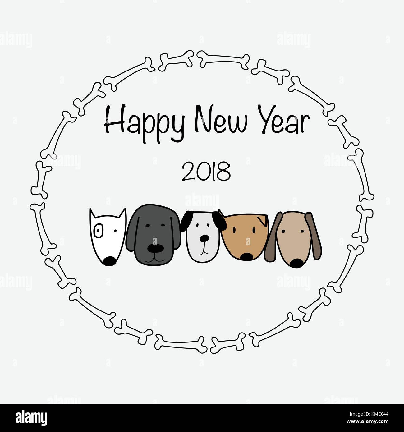 happy new year 2018 with bone frame and cute dog