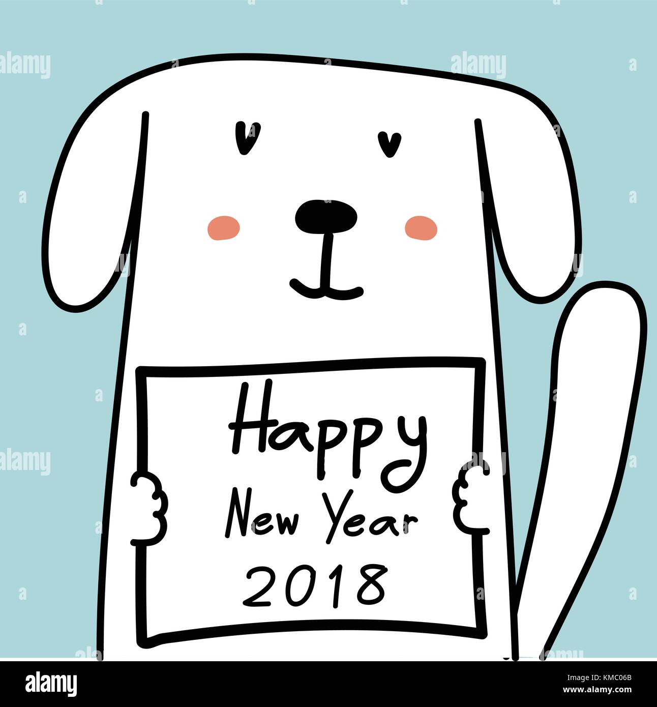 happy new year 2018 card with cute dog