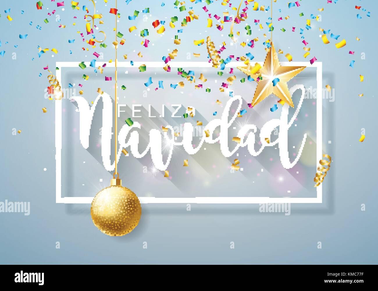 Christmas illustration with spanish feliz navidad typography and christmas illustration with spanish feliz navidad typography and gold cutout paper star ornamental ball on shiny light background m4hsunfo
