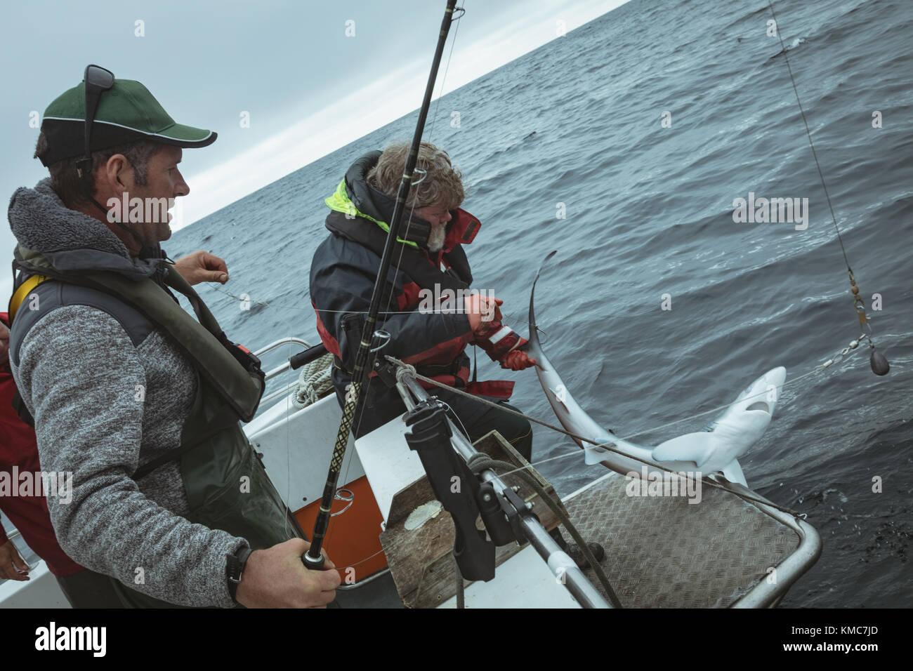 Shark fishing boat stock photos shark fishing boat stock for Shark fishing rod