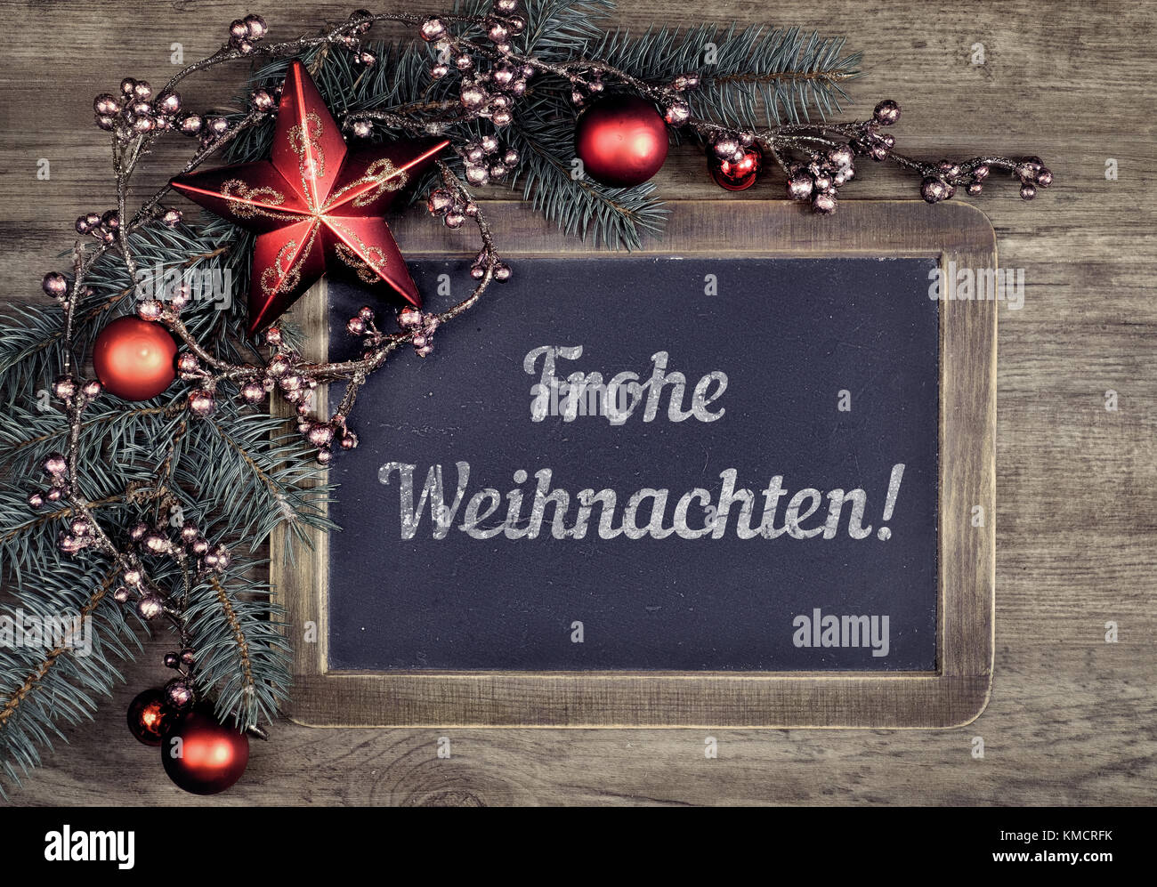 Blackboard With Greeting Text Frohe Weihachten Or Merry Stock