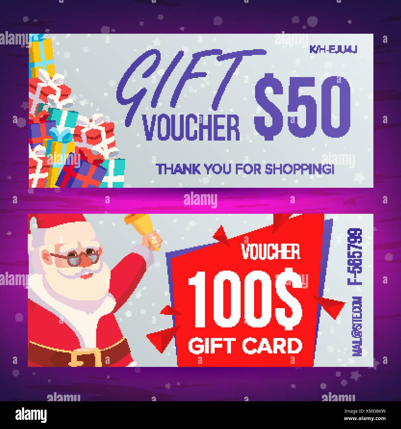 Christmas Voucher Template Vector. Horizontal Card. Happy New Year. Santa  Claus And Gifts. Holidays Advertisement. Gift Certificate Illustration