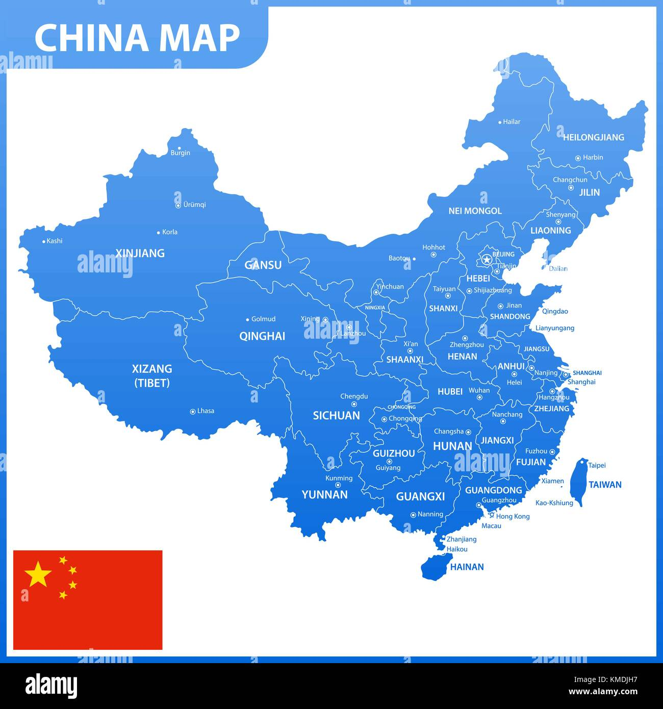 Xiamen stock vector images alamy the detailed map of the china with regions or states and cities capitals national gumiabroncs Gallery