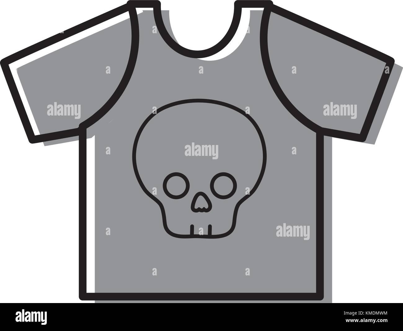 Color Rock T Shirt With Skull Design Casul Clothes Stock Vector Art