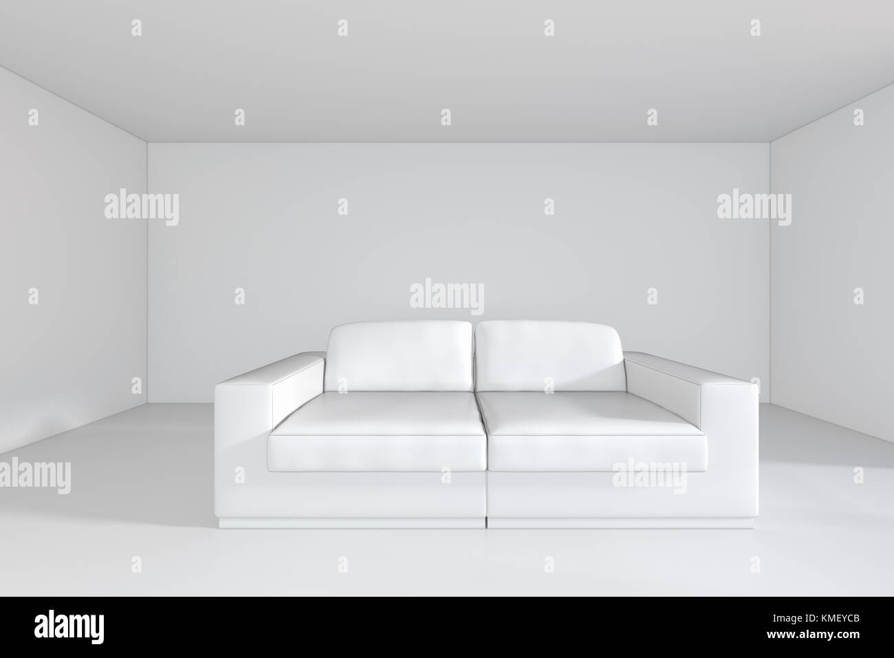 White Room With Sofa And Empty Background Wall. 3d Rendering.