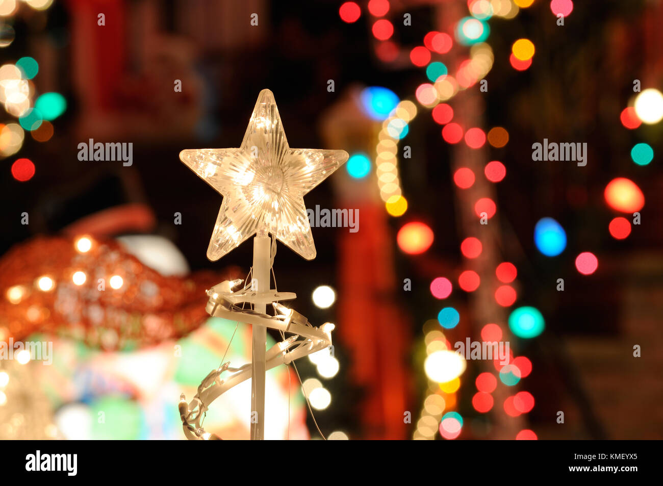 Christmas lights background nativity star blurred lights and stock christmas lights background nativity star blurred lights and outdoor decorations aloadofball Images
