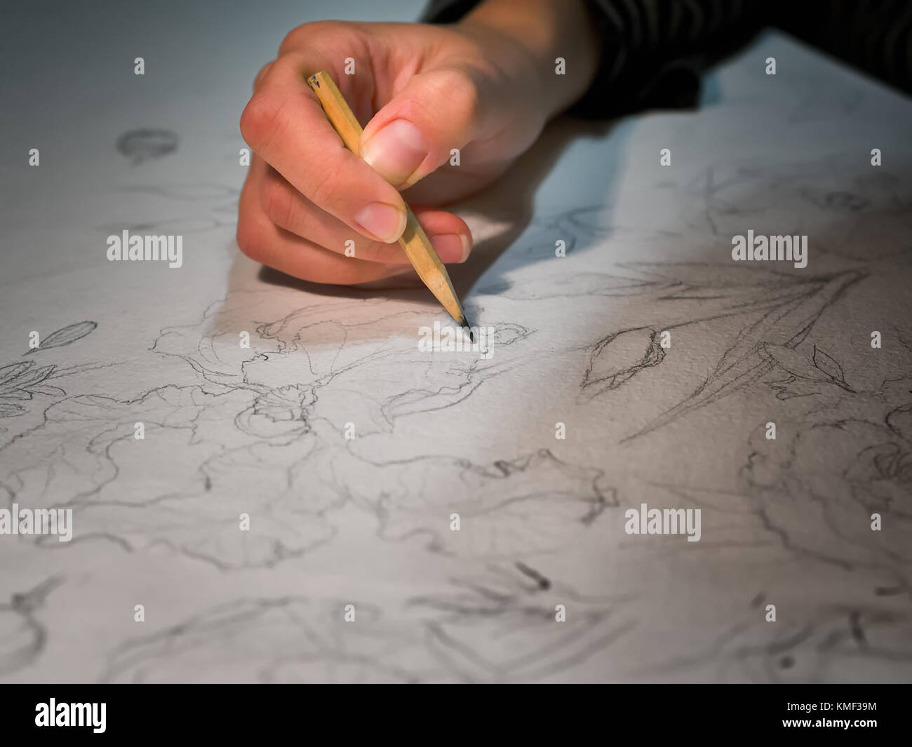 Woman S Hand Holding A Pencil And Drawing A Flowers On Watercolor