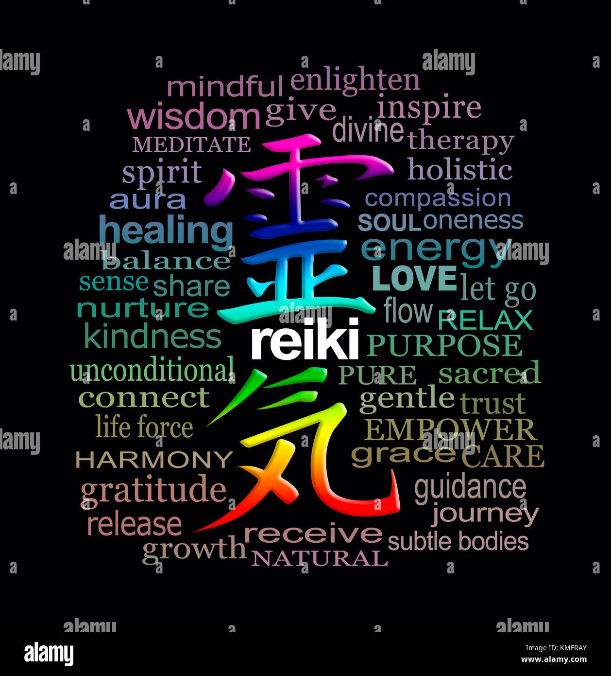 Reiki words of wisdom rainbow coloured reiki kanji symbol stock reiki words of wisdom rainbow coloured reiki kanji symbol representing universal energy surrounded by a relevant word cloud on black biocorpaavc