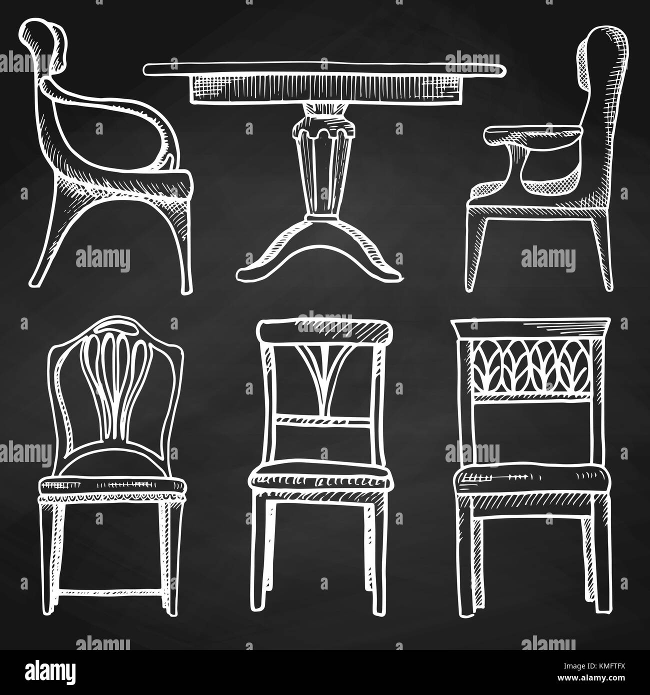 Sketch Set Isolated Furniture. Different Chairs And Tables. Hand Drawn  Chalk On A Chalkboard.Vector Illustration In A Sketch Style.